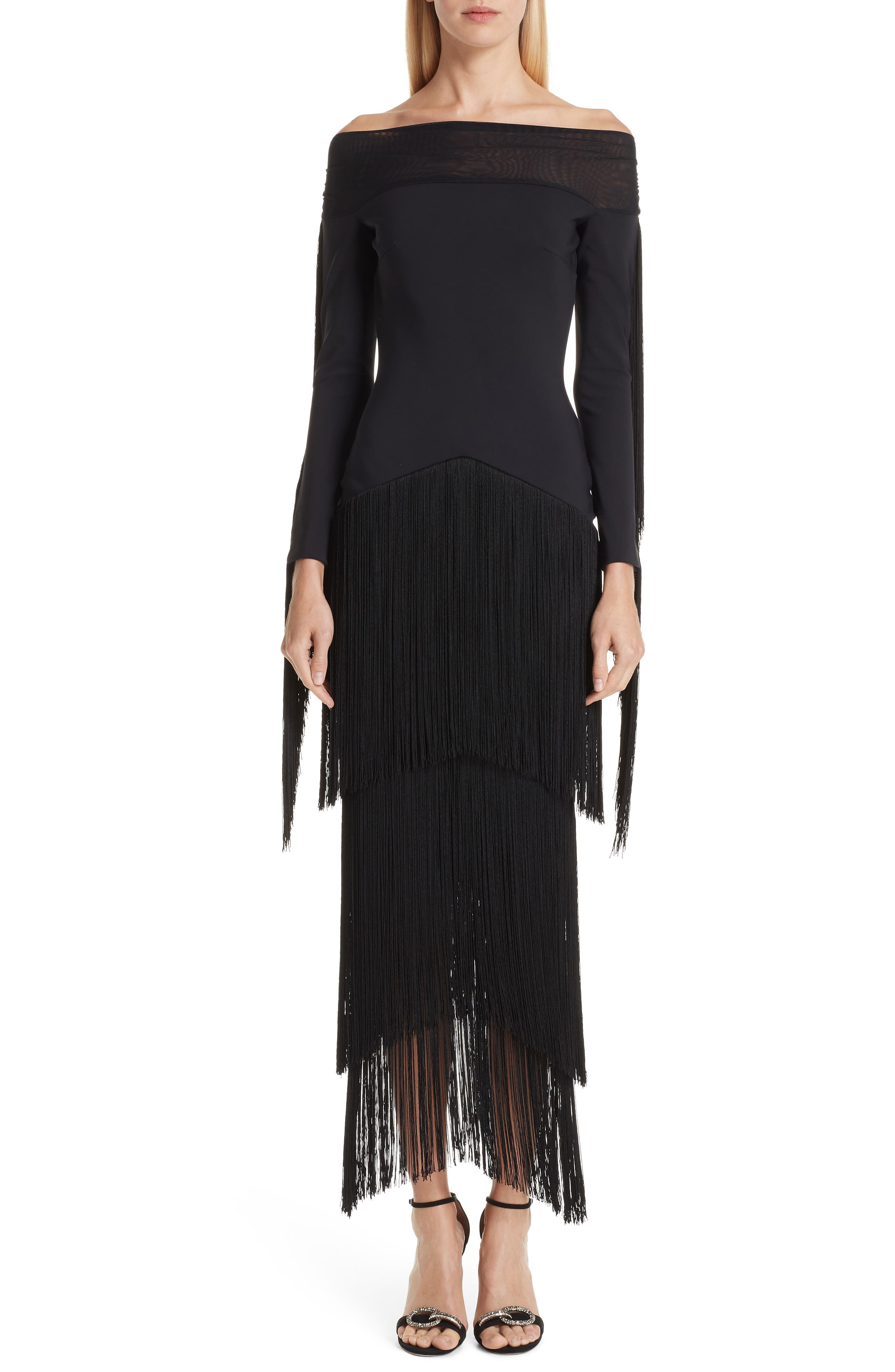 Hadel Fringe Trim Gown,                             Main thumbnail 1, color,                             BLACK