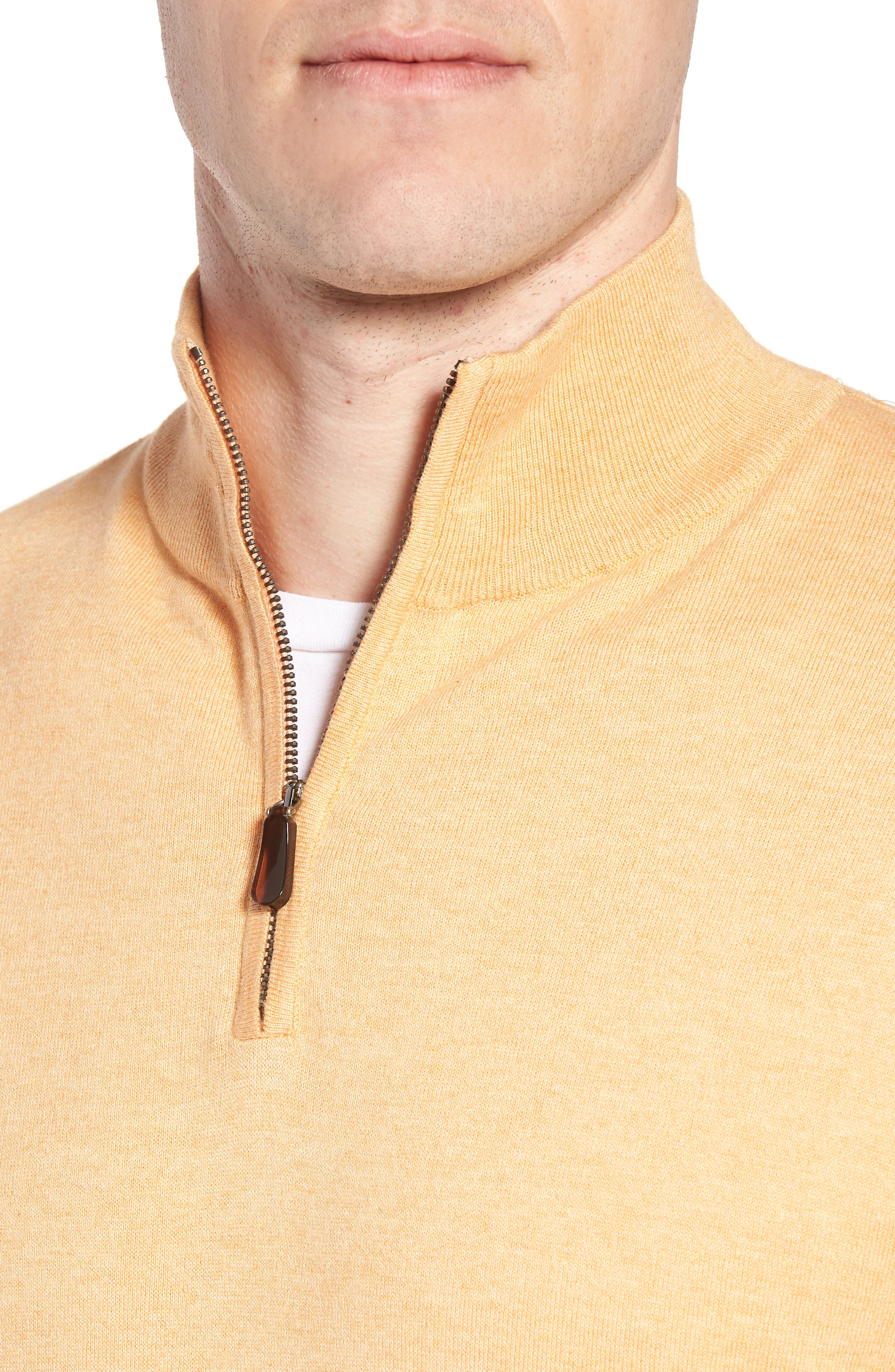 Cotton & Silk Quarter Zip Pullover,                             Alternate thumbnail 4, color,                             830