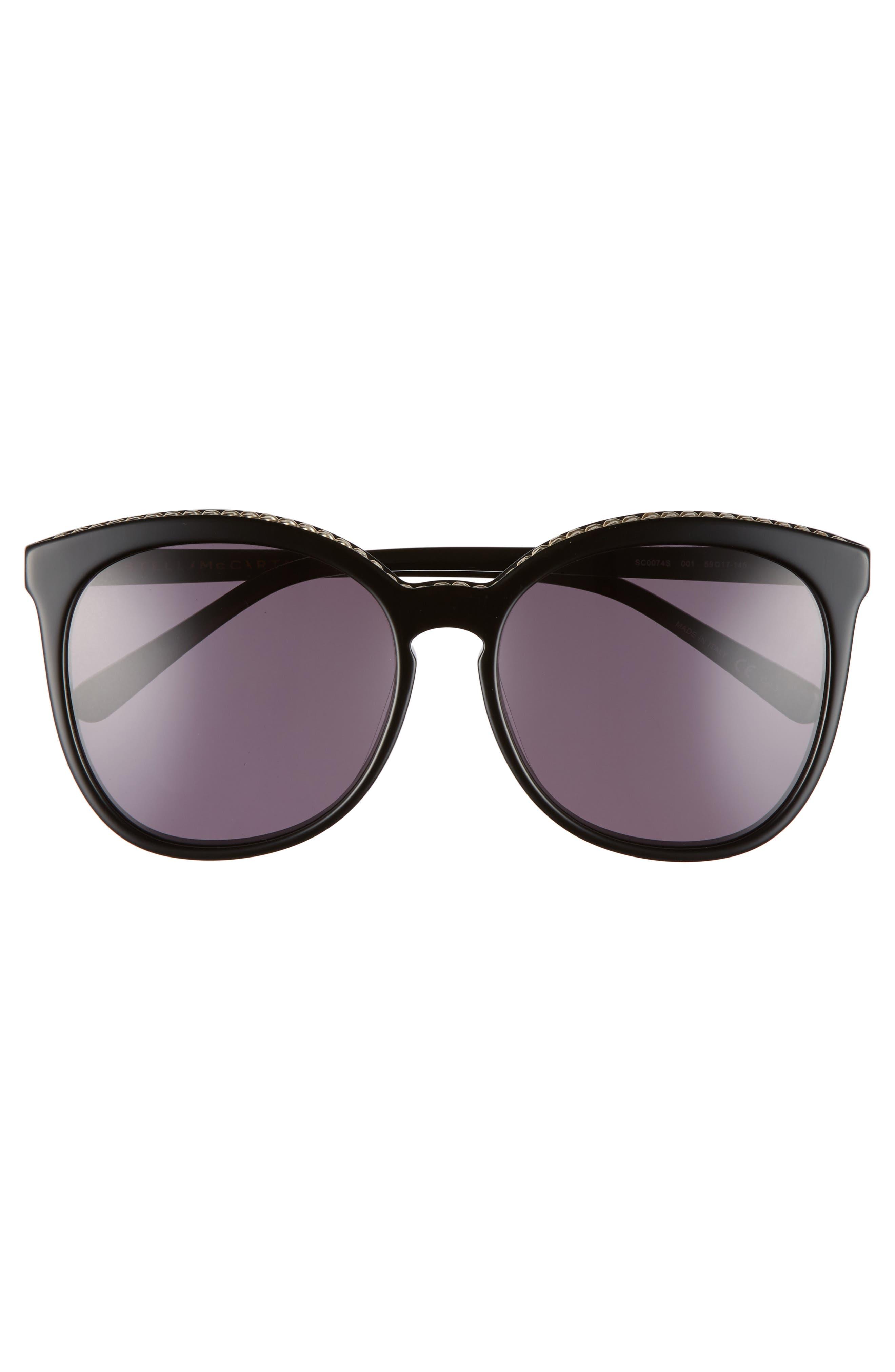 59mm Cat Eye Sunglasses,                             Alternate thumbnail 3, color,                             BLACK