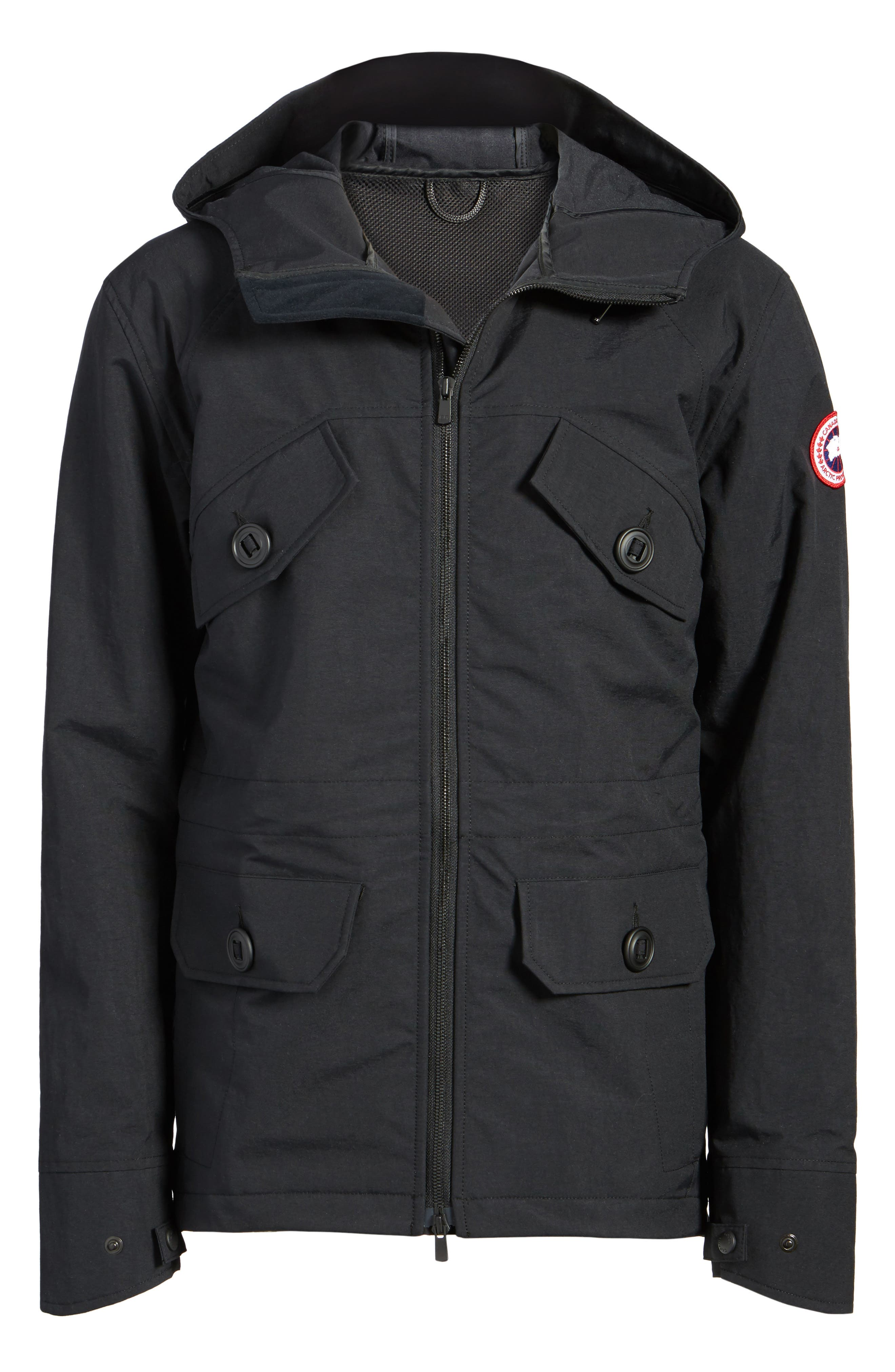 CANADA GOOSE,                             Redstone Slim Fit Hooded Jacket,                             Alternate thumbnail 5, color,                             001
