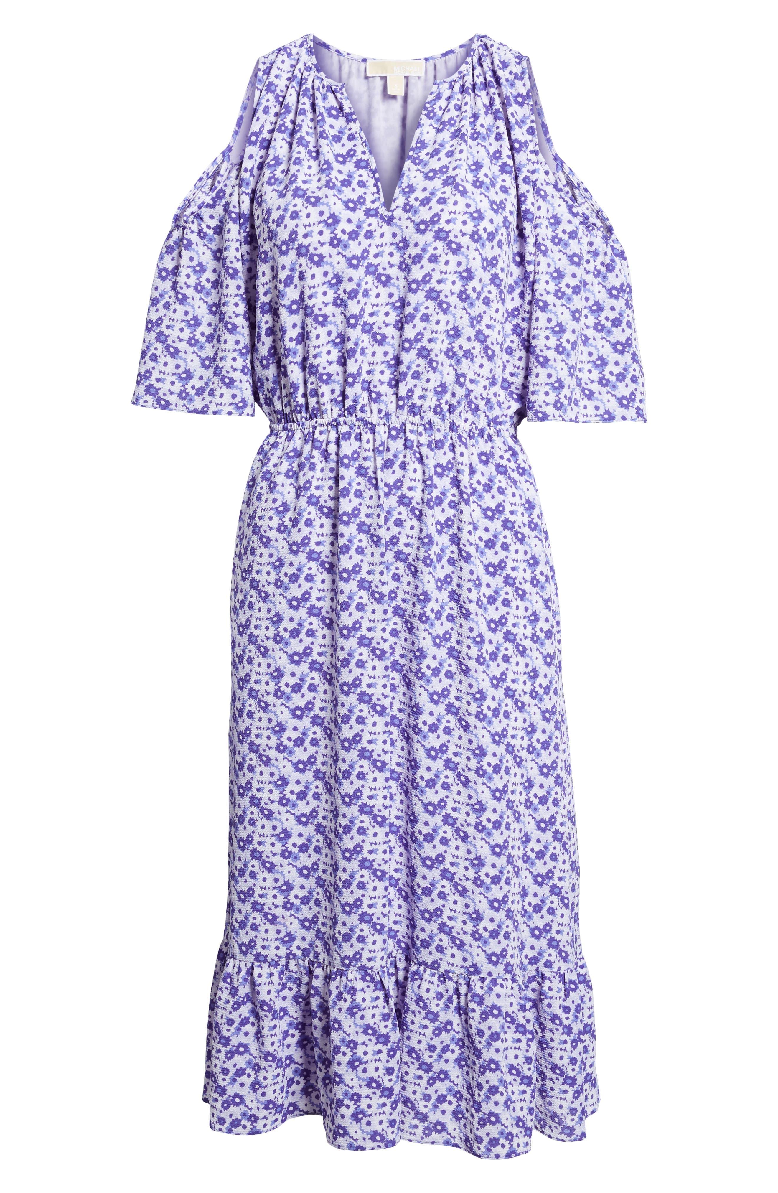 Ruffle Cold Shoulder Dress,                             Alternate thumbnail 6, color,                             580