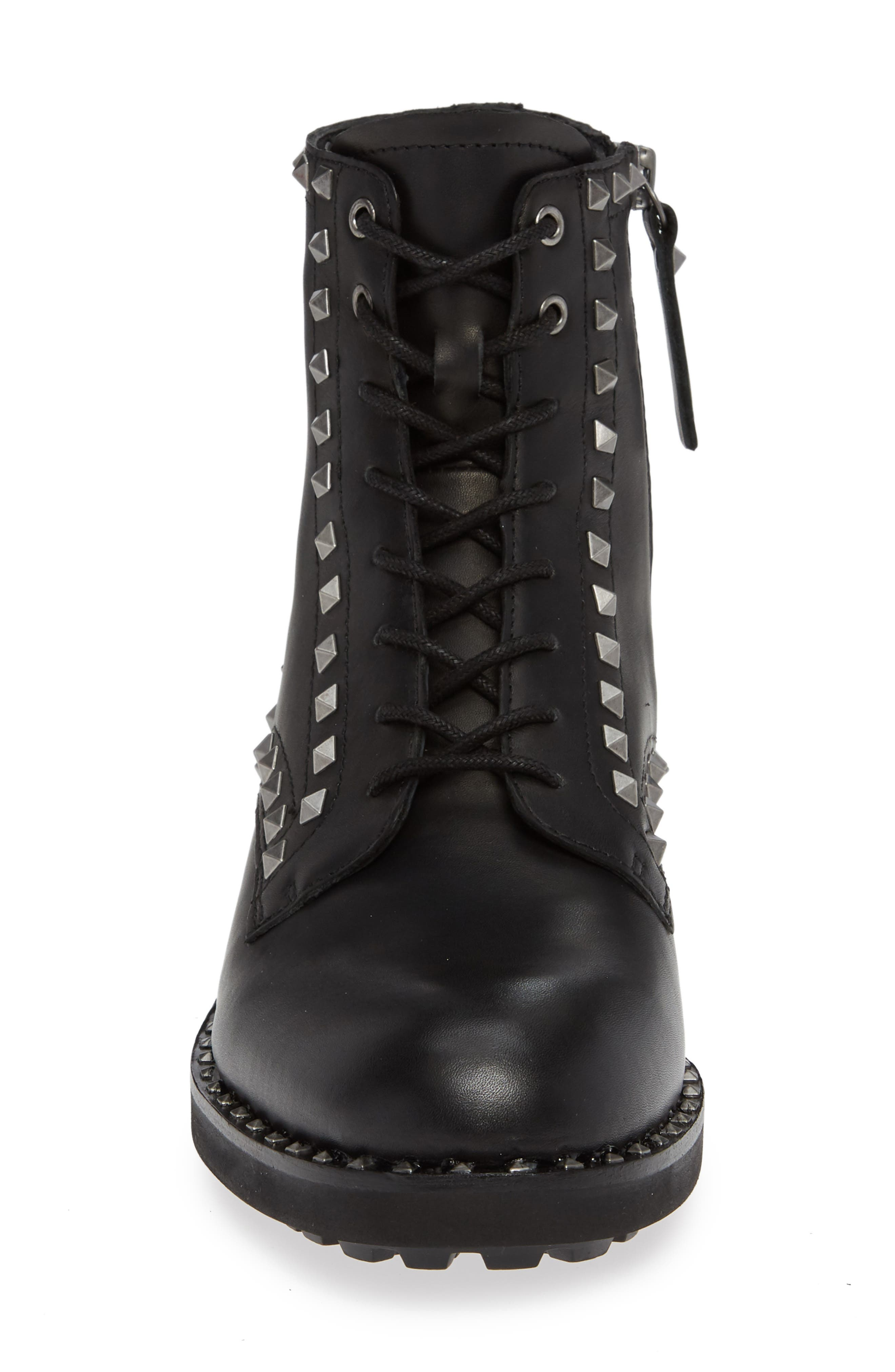 Wolf Studded Combat Boot,                             Alternate thumbnail 4, color,                             BLACK LEATHER