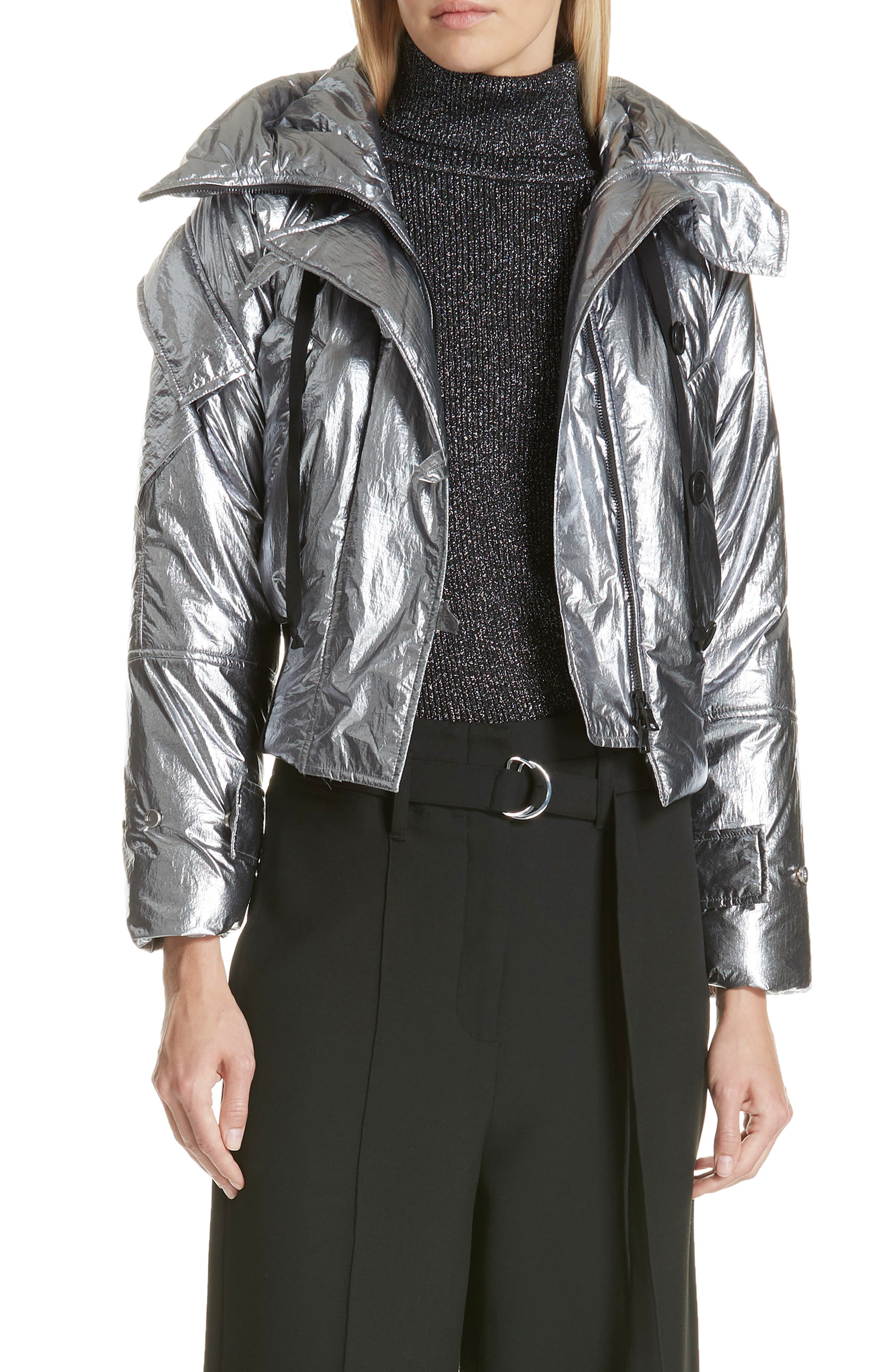 Metallic Crop Puffer Jacket,                             Main thumbnail 1, color,                             040