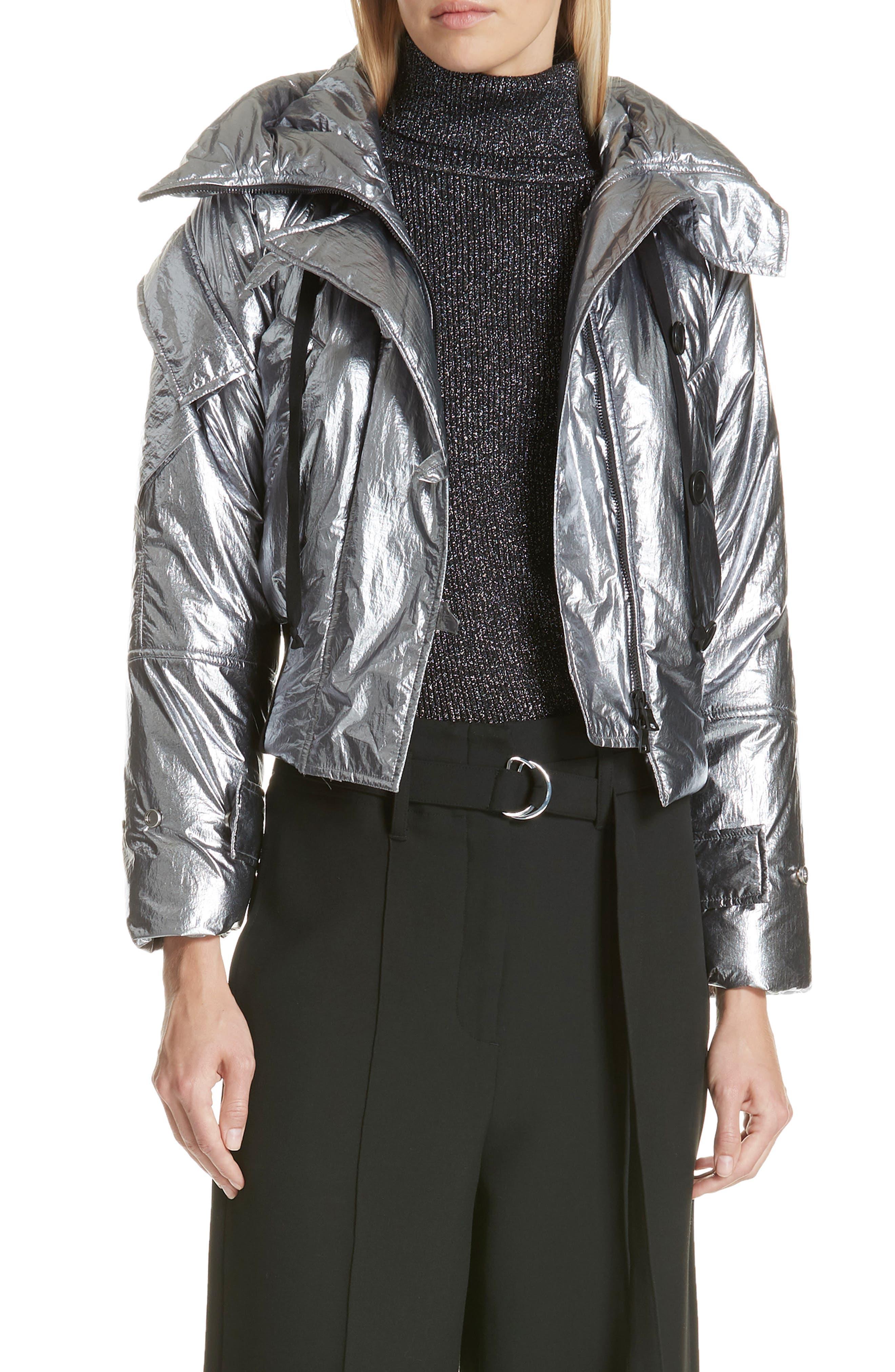 Metallic Crop Puffer Jacket,                         Main,                         color, 040