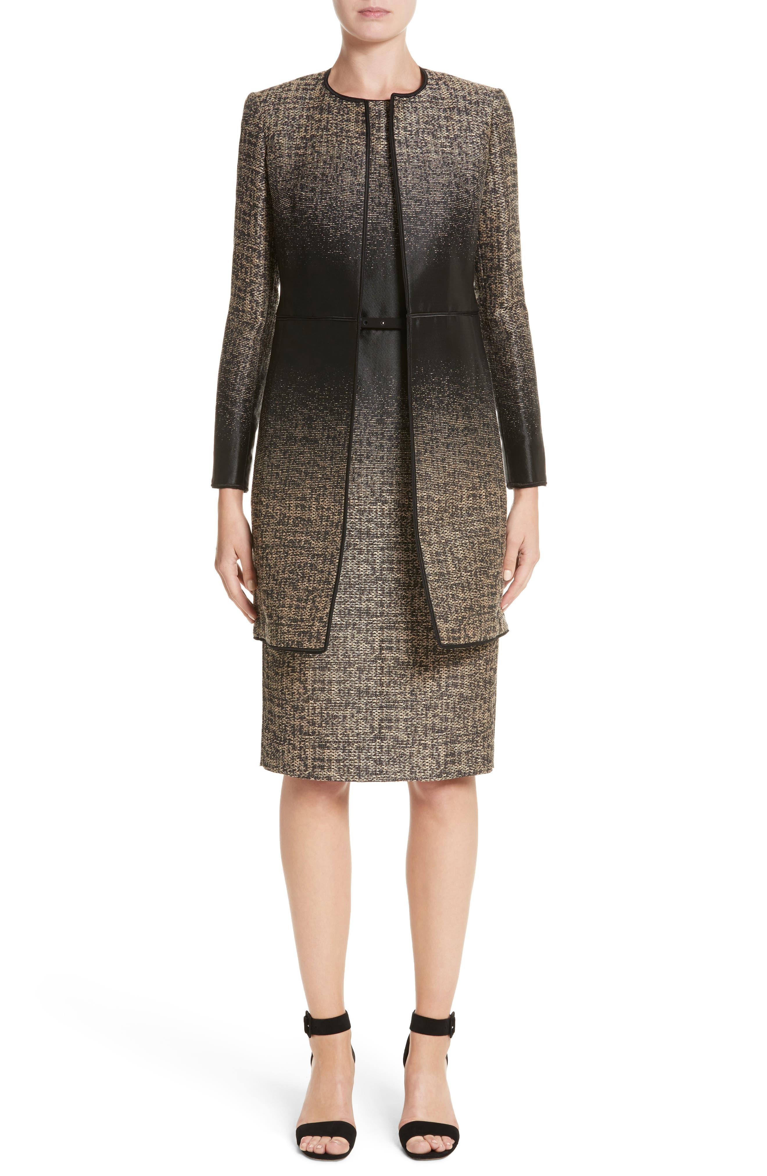 Paulette Jacquard Sheath Dress,                             Alternate thumbnail 7, color,                             001