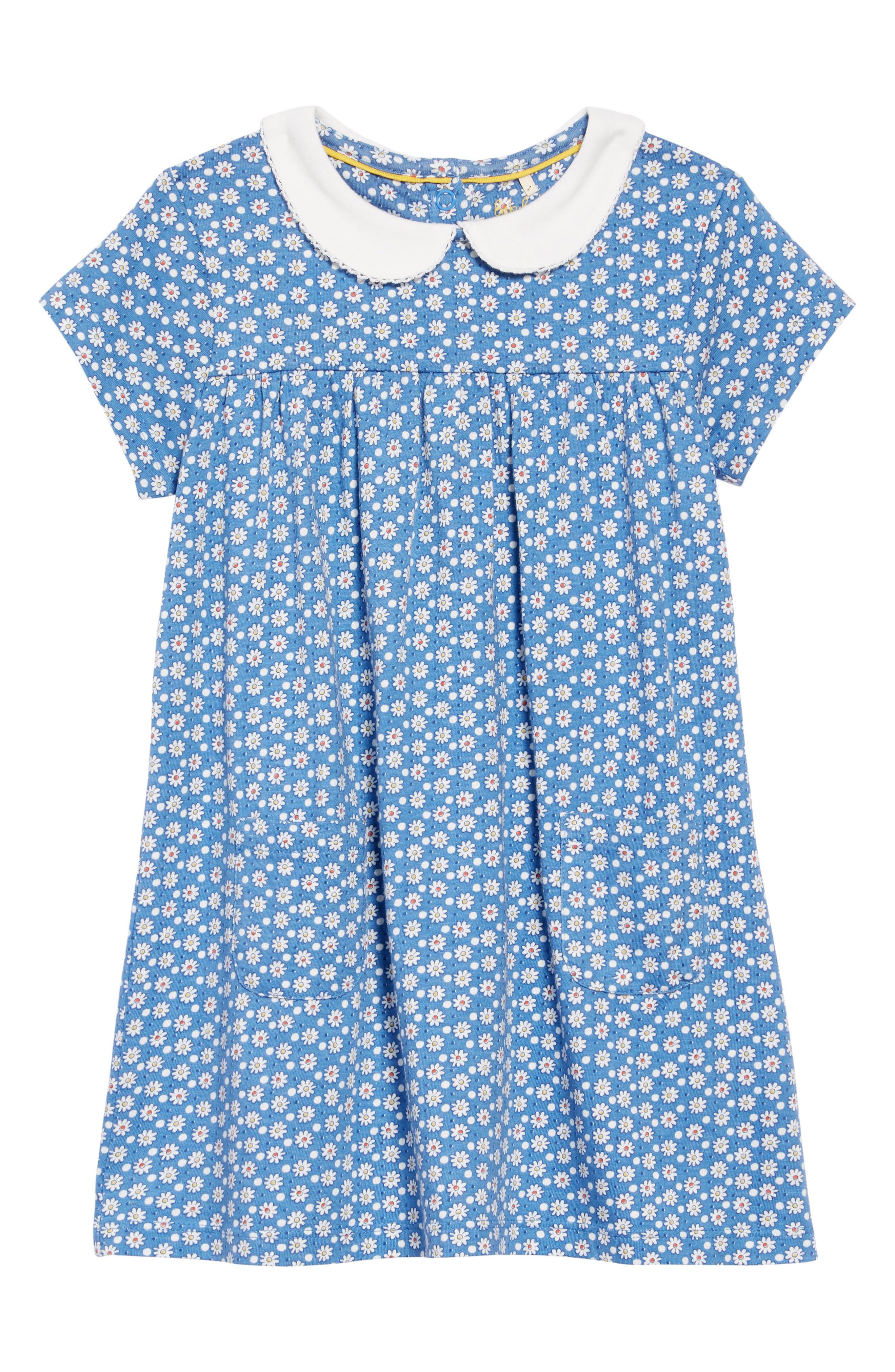 Peter Pan Collar Jersey Dress, Main, color, BLU IVORY DAISY DOT