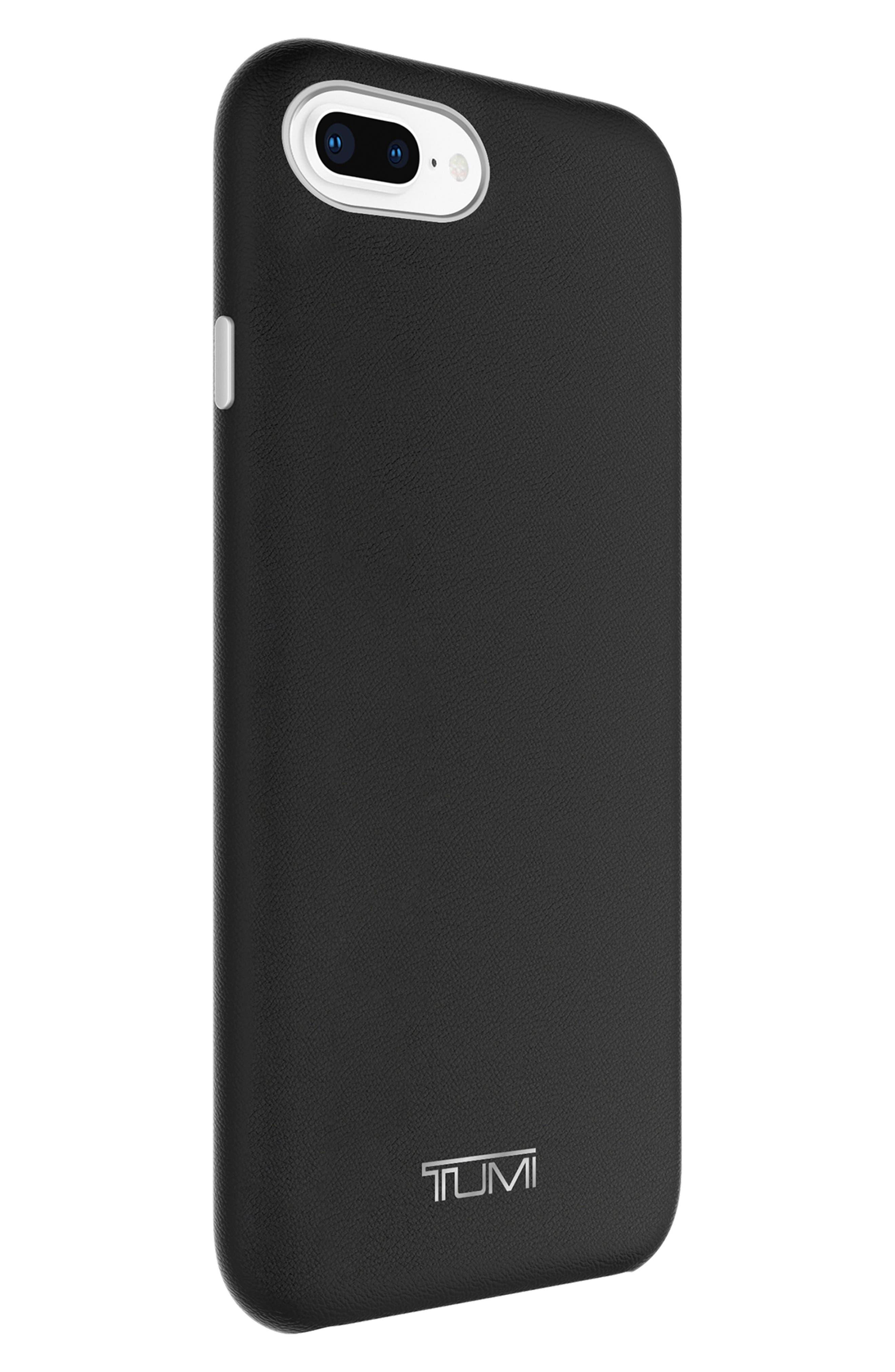 Leather Wrap iPhone 8 Plus Case,                             Alternate thumbnail 2, color,                             BLACK