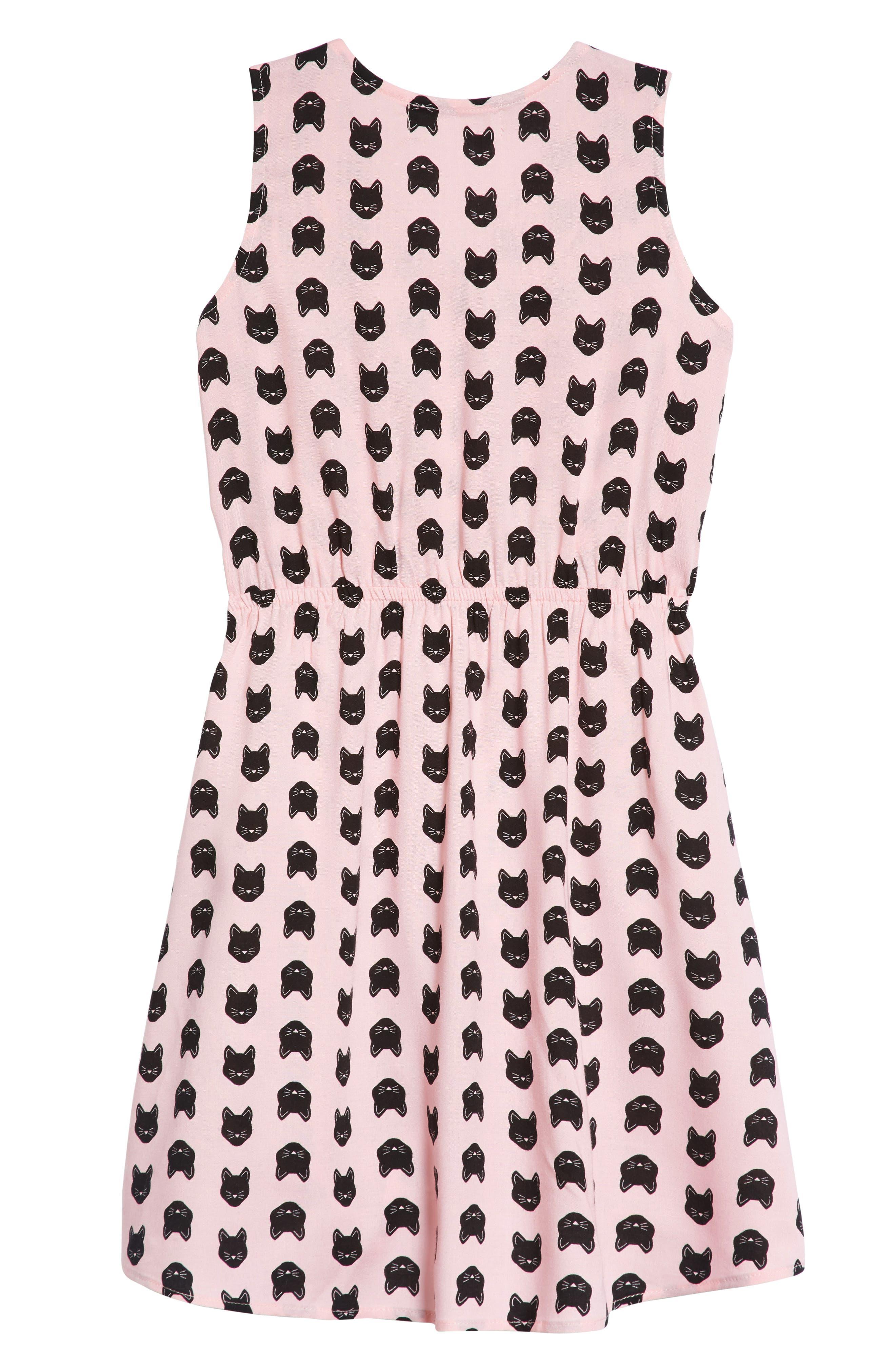 Cat Print Dress,                             Alternate thumbnail 2, color,                             PINK