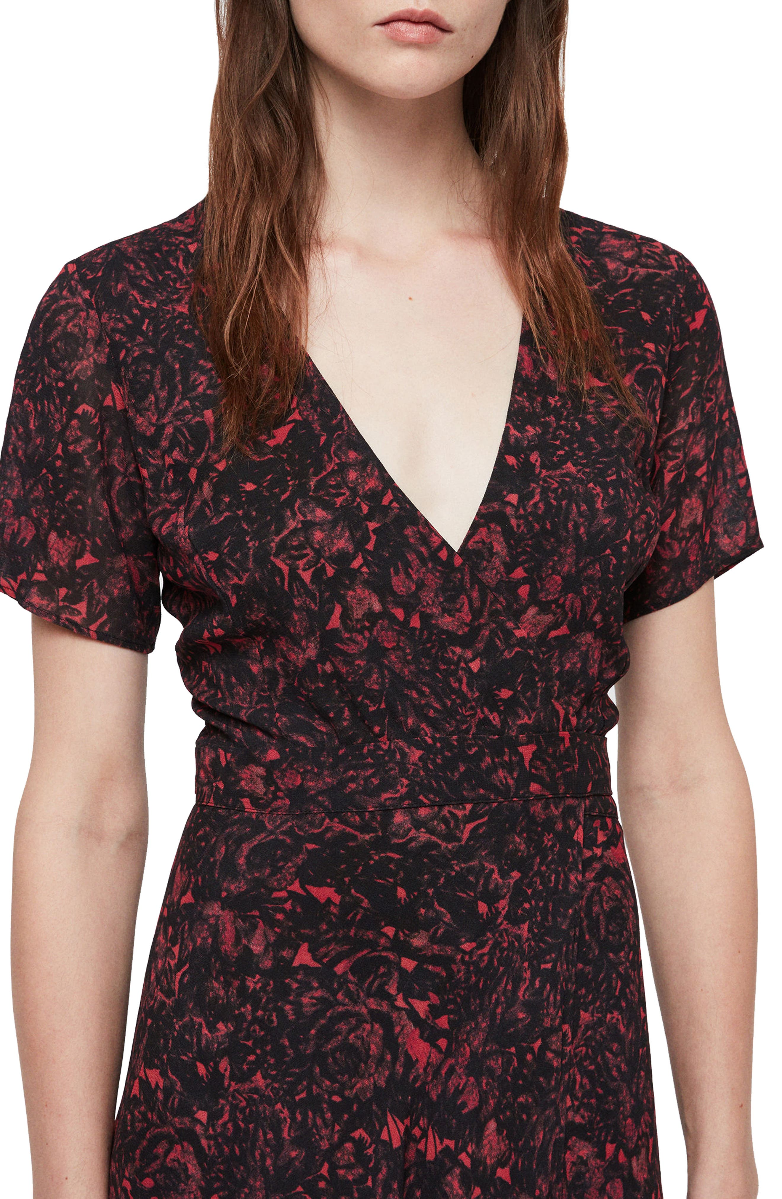 ALLSAINTS,                             Seeta Rosey Midi Dress,                             Alternate thumbnail 4, color,                             622