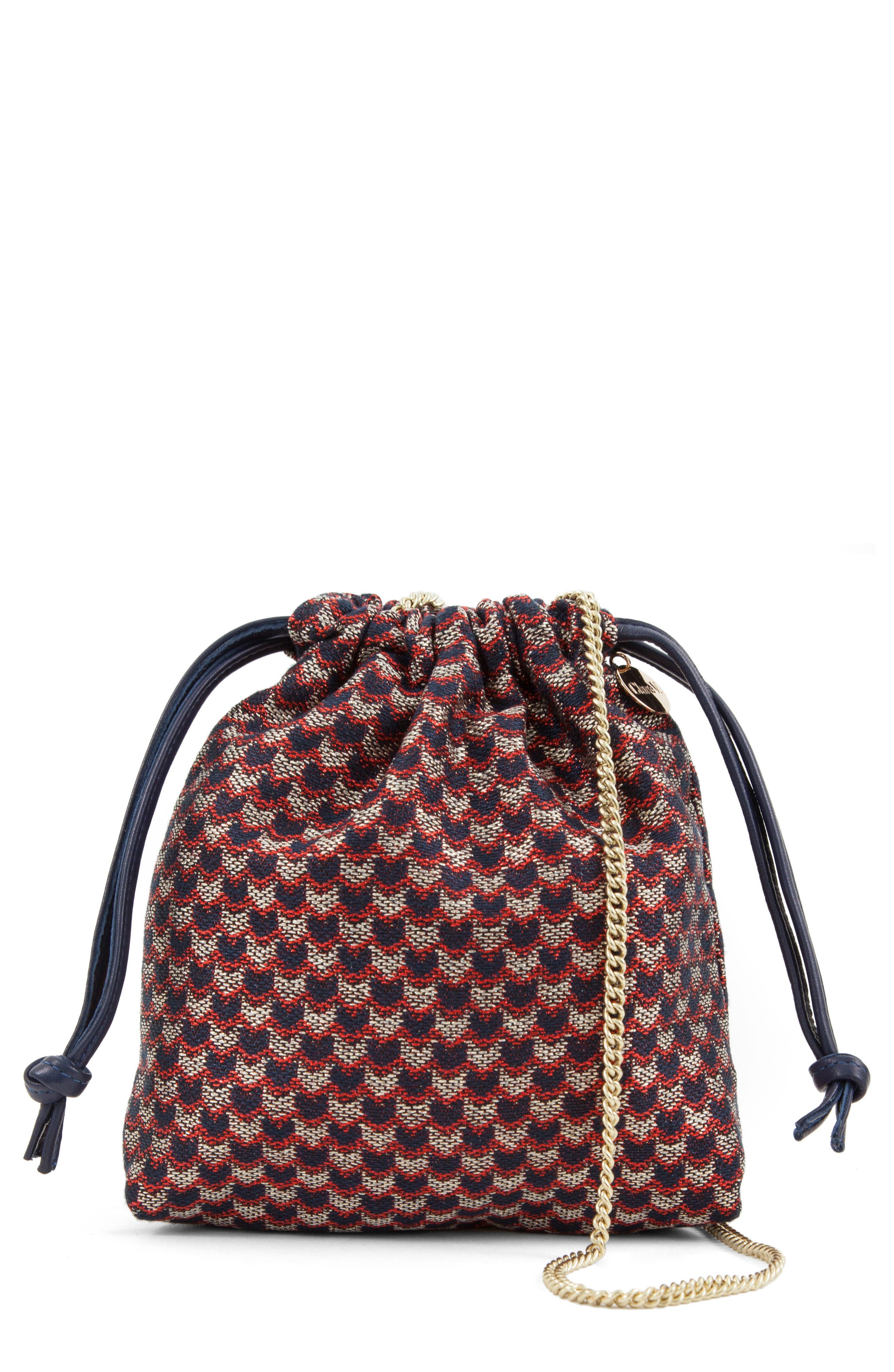 Chevron Leather Drawstring Pouch,                         Main,                         color,