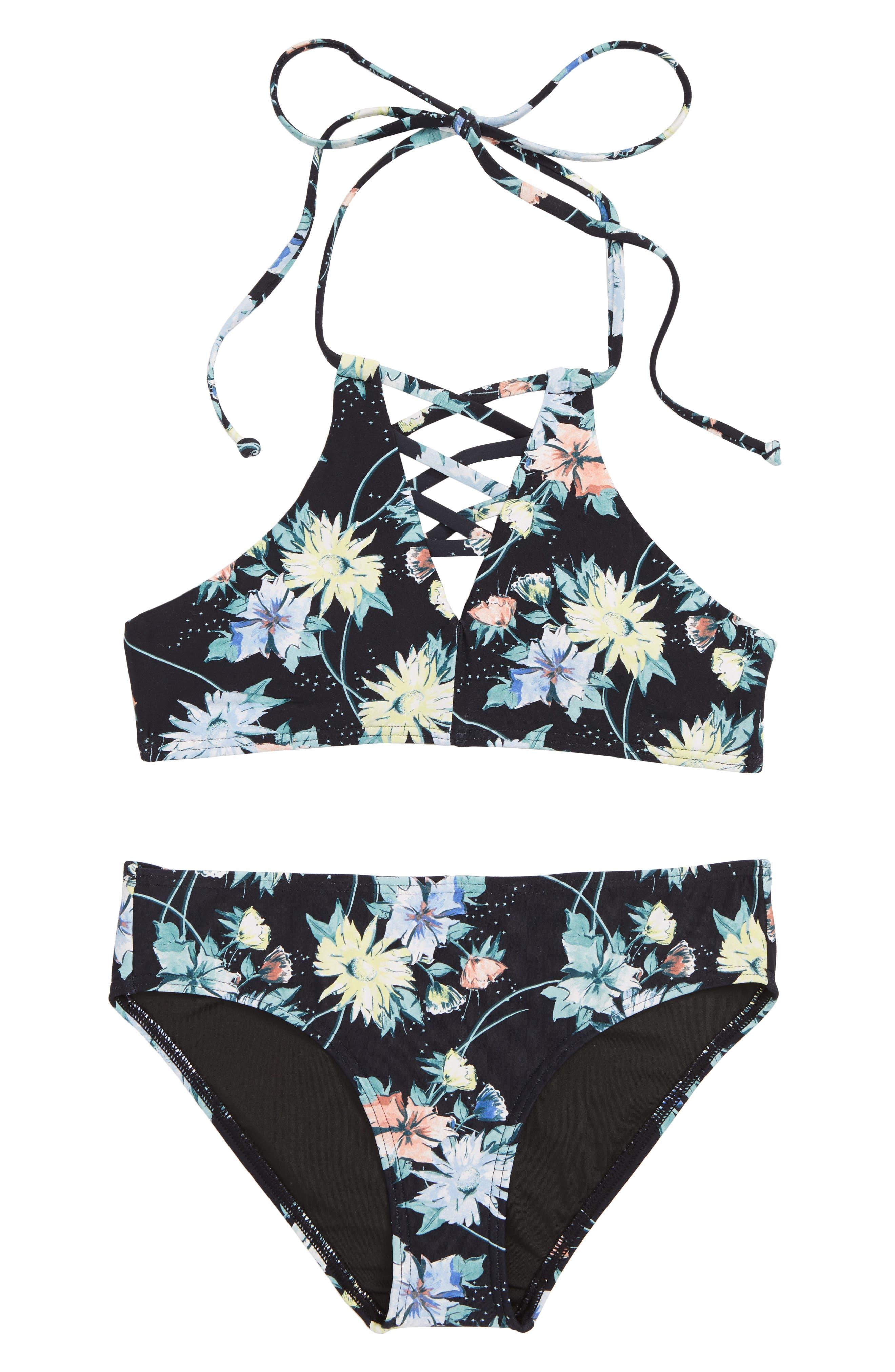 O'NEILL Dahlia Floral Two-Piece Swimsuit, Main, color, BLACK