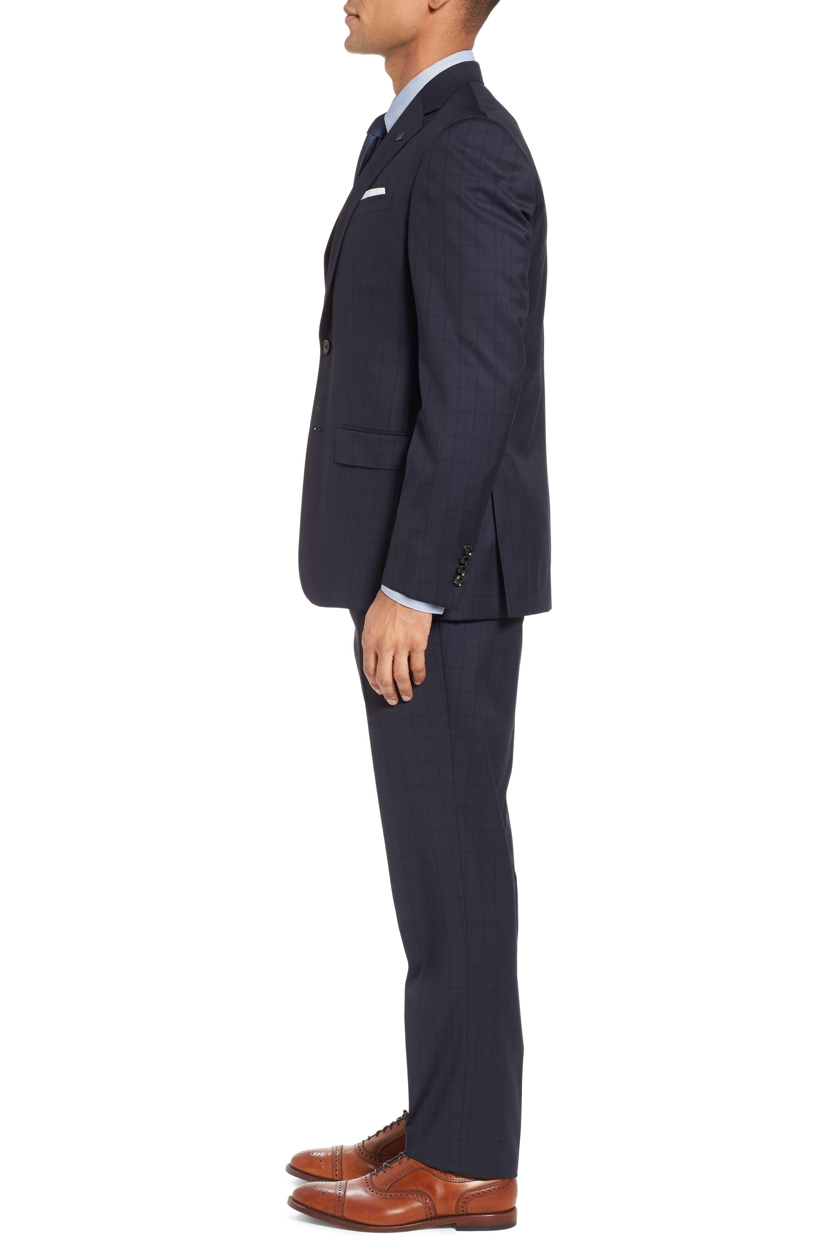 Jay Trim Fit Check Wool Suit,                             Alternate thumbnail 3, color,                             410
