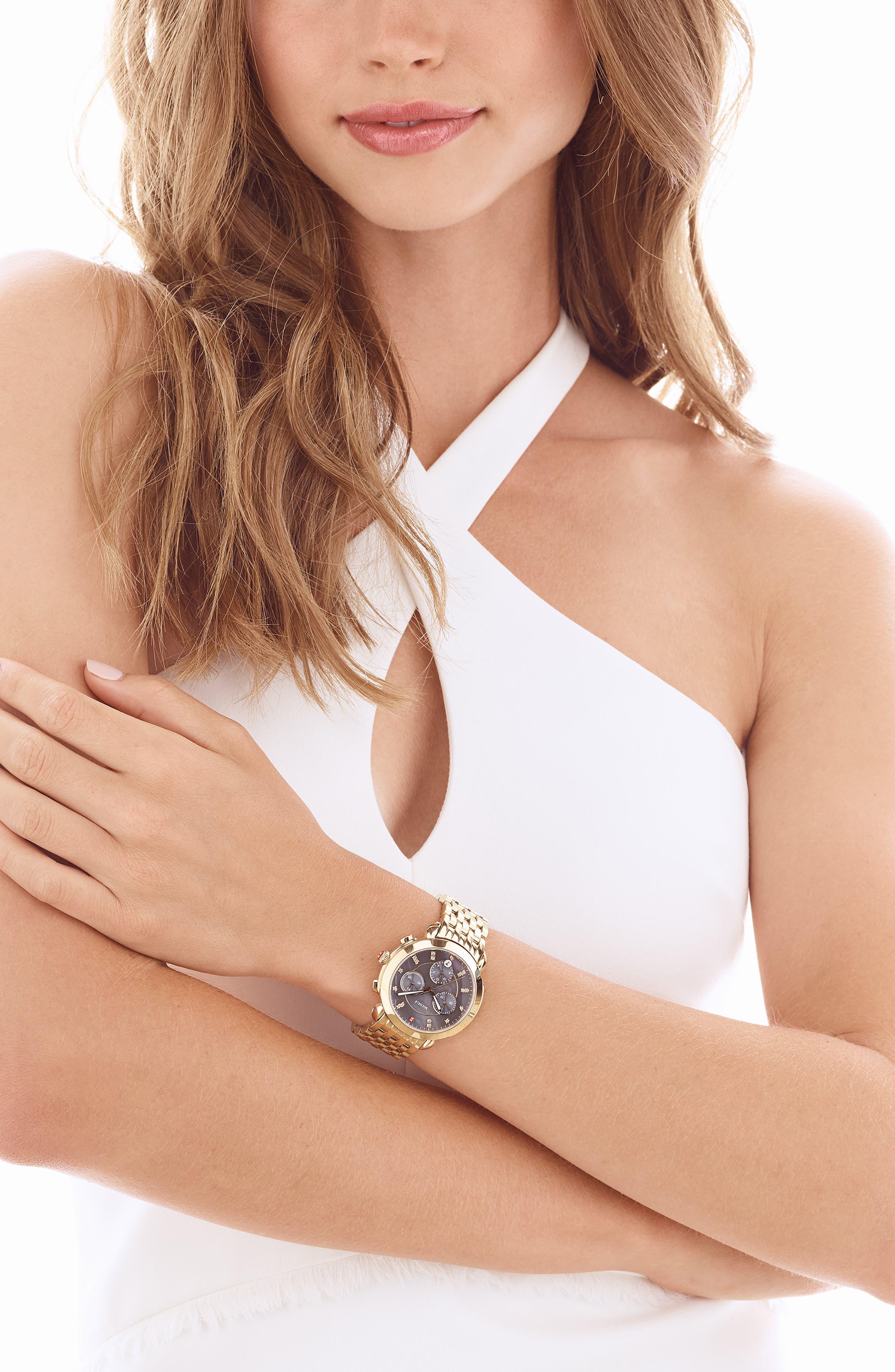 Sidney Chronograph Diamond Watch Head, 38mm,                             Alternate thumbnail 2, color,                             GOLD/ GREY MOP