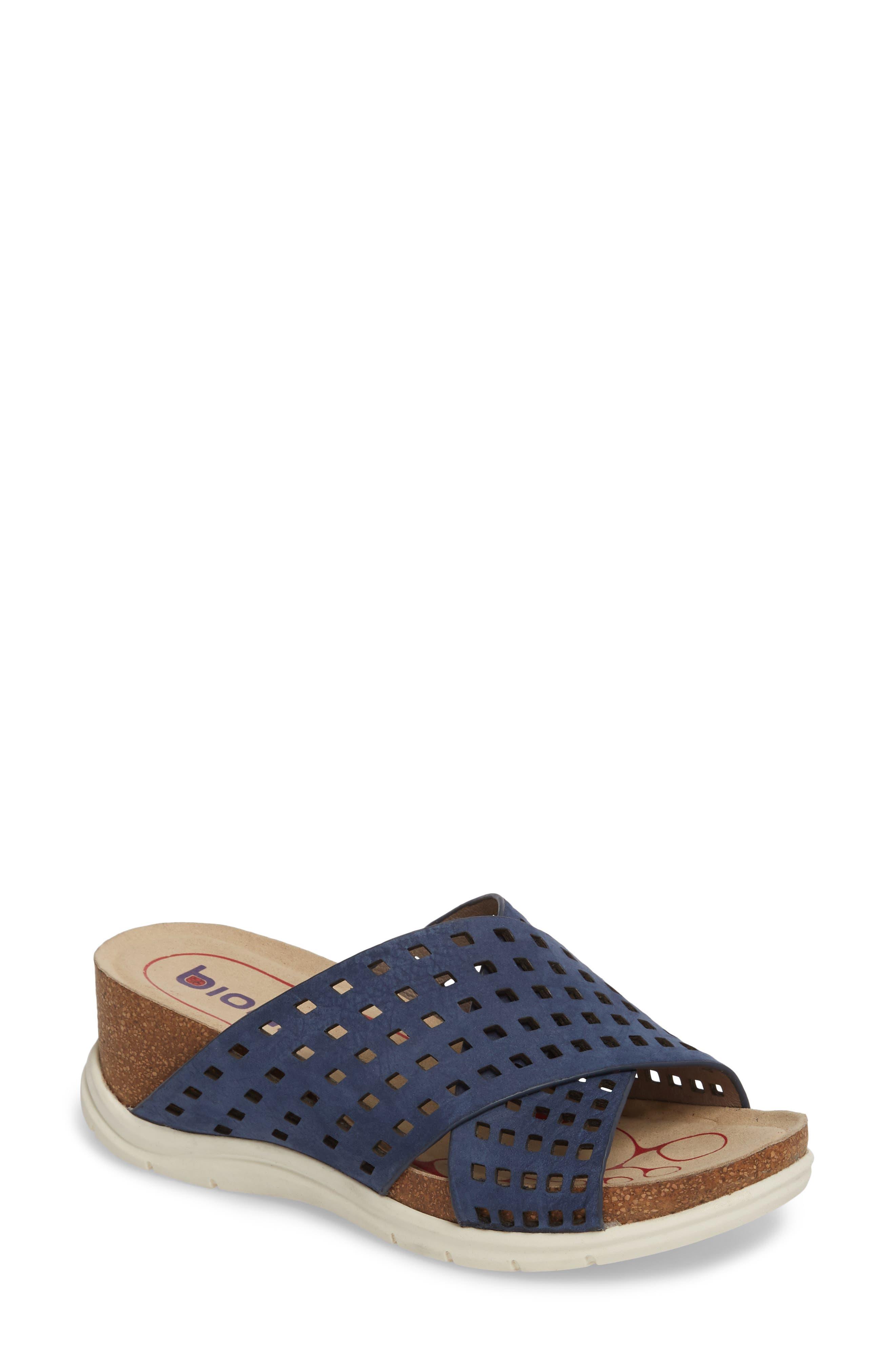 BIONICA Pandora Slide Sandal, Main, color, NAVY LEATHER