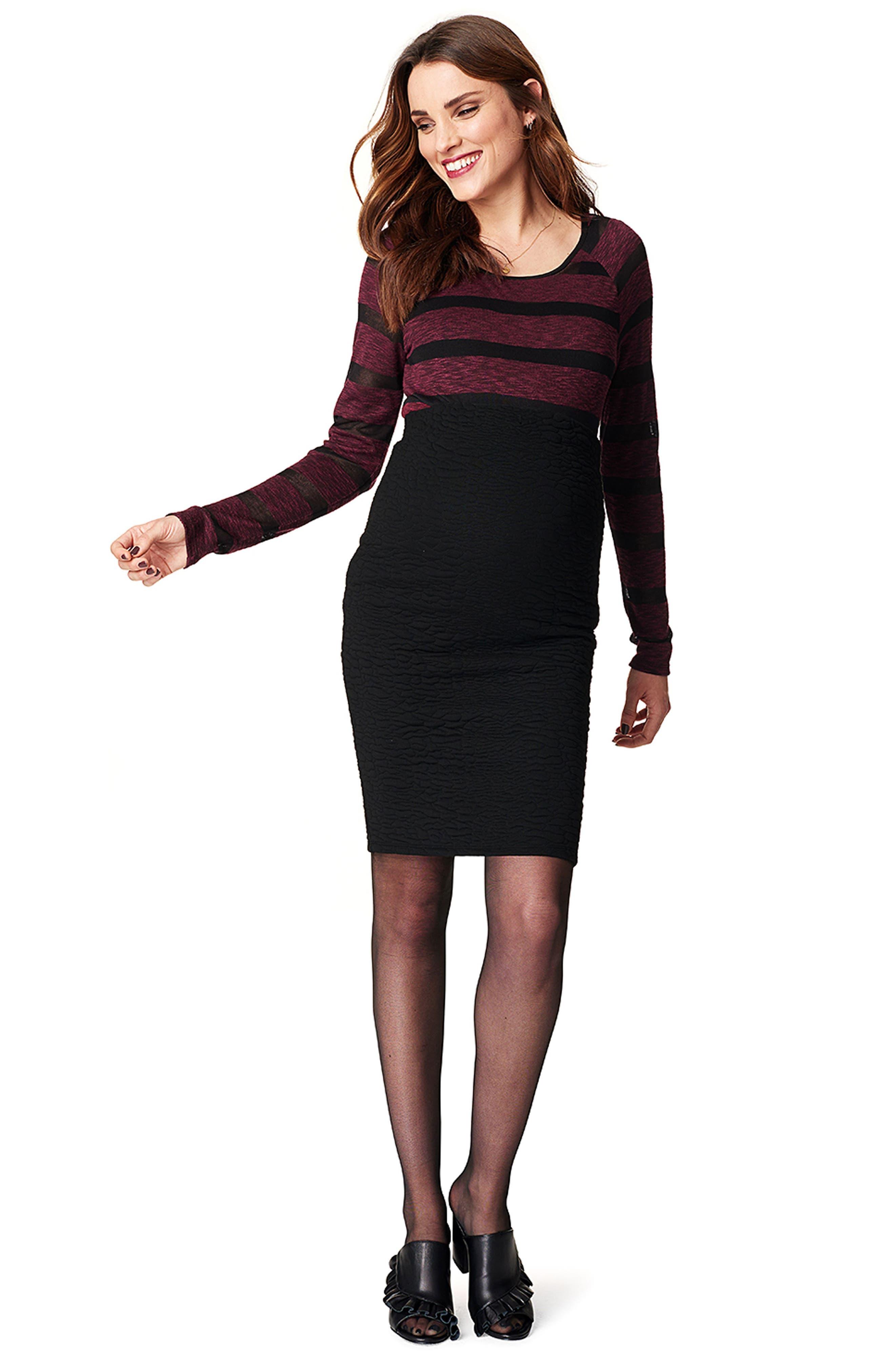 Jane Textured Knit Maternity Skirt,                             Alternate thumbnail 4, color,                             BLACK