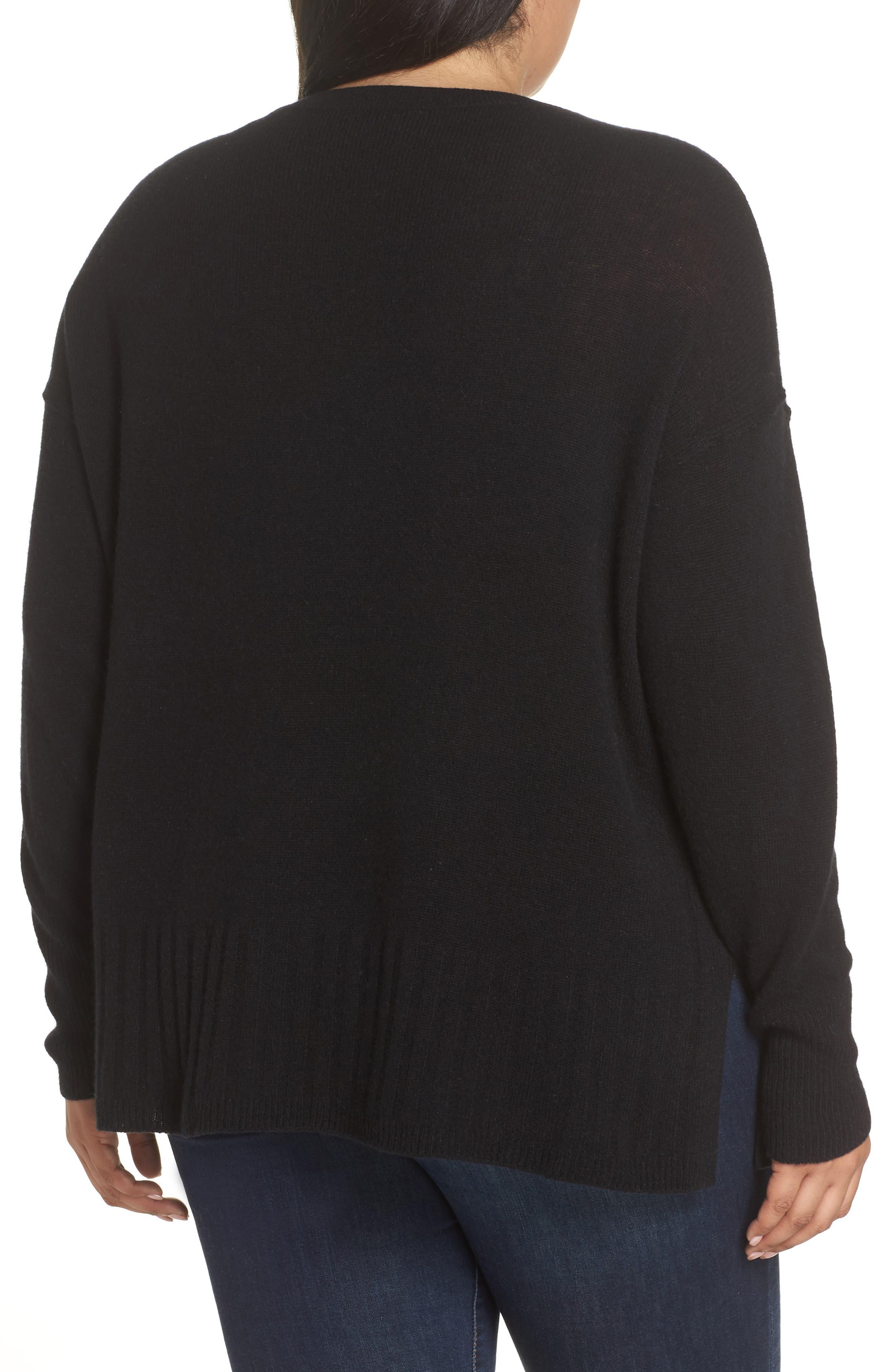 Wool & Cashmere Side Split Pullover,                             Alternate thumbnail 2, color,                             BLACK