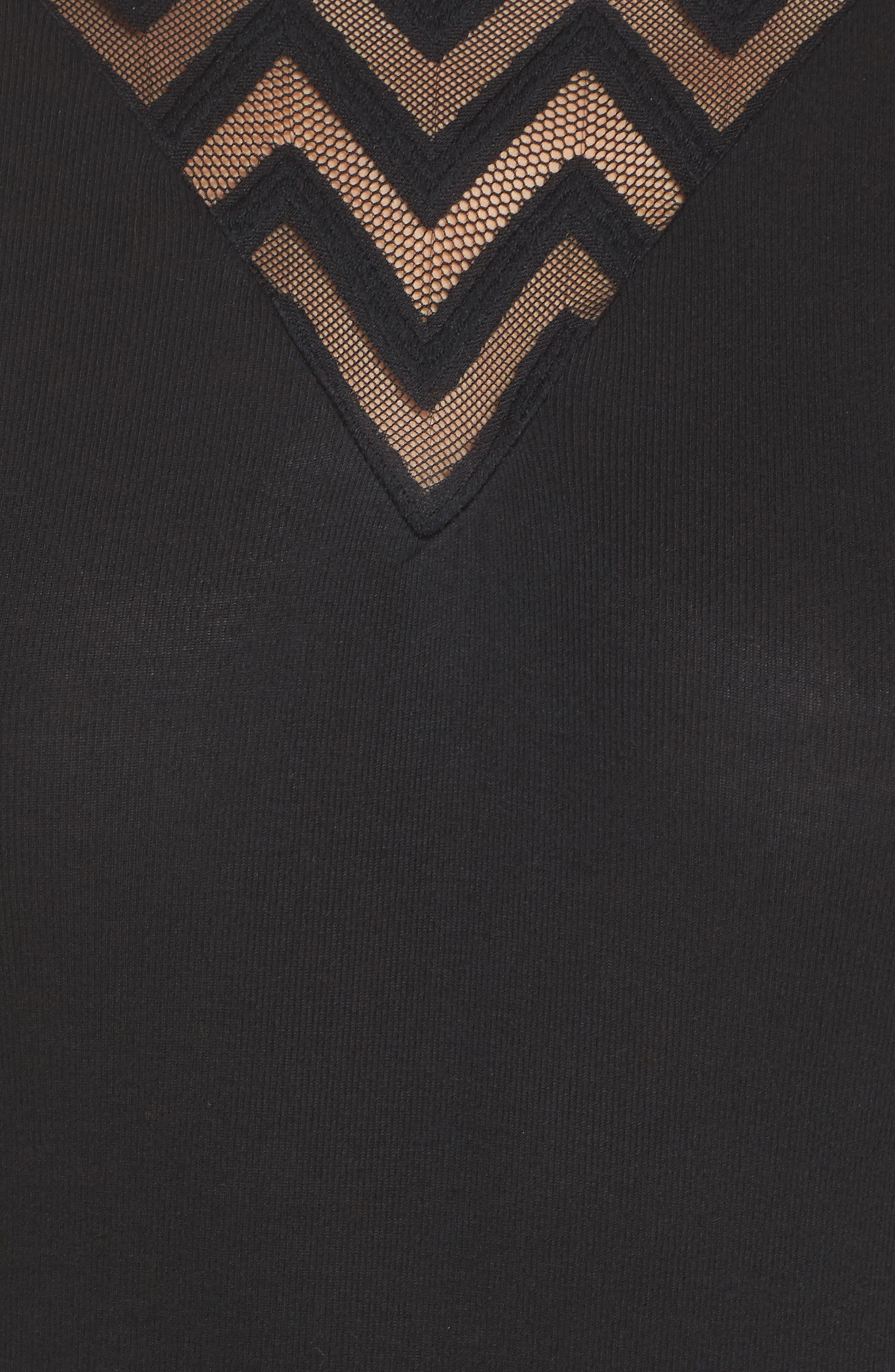 Modal & Cashmere Bodysuit,                             Alternate thumbnail 5, color,                             001