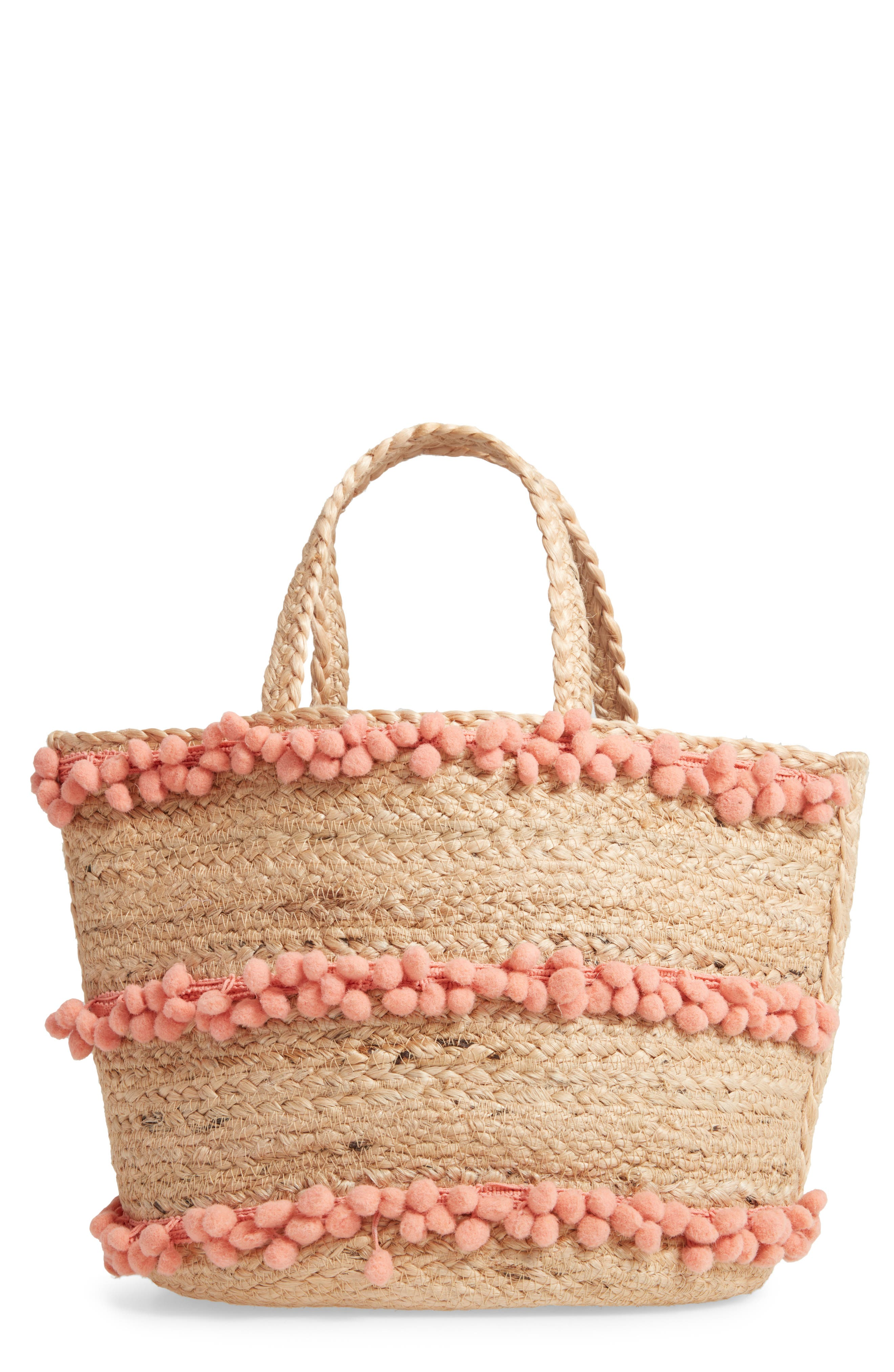 SHIRALEAH,                             Aubrey Small Pompom Jute Tote,                             Main thumbnail 1, color,                             650