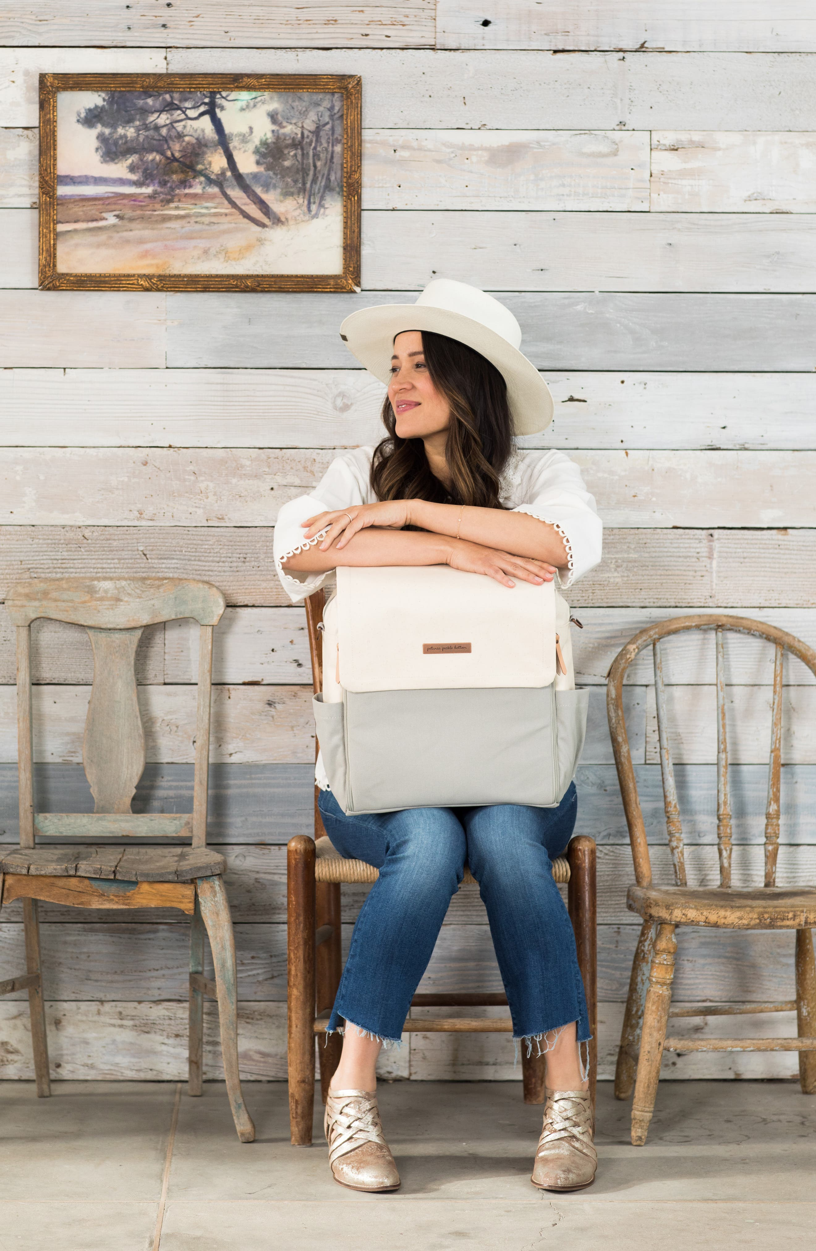 Boxy Backpack Diaper Bag,                             Alternate thumbnail 4, color,                             BIRCH/ STONE