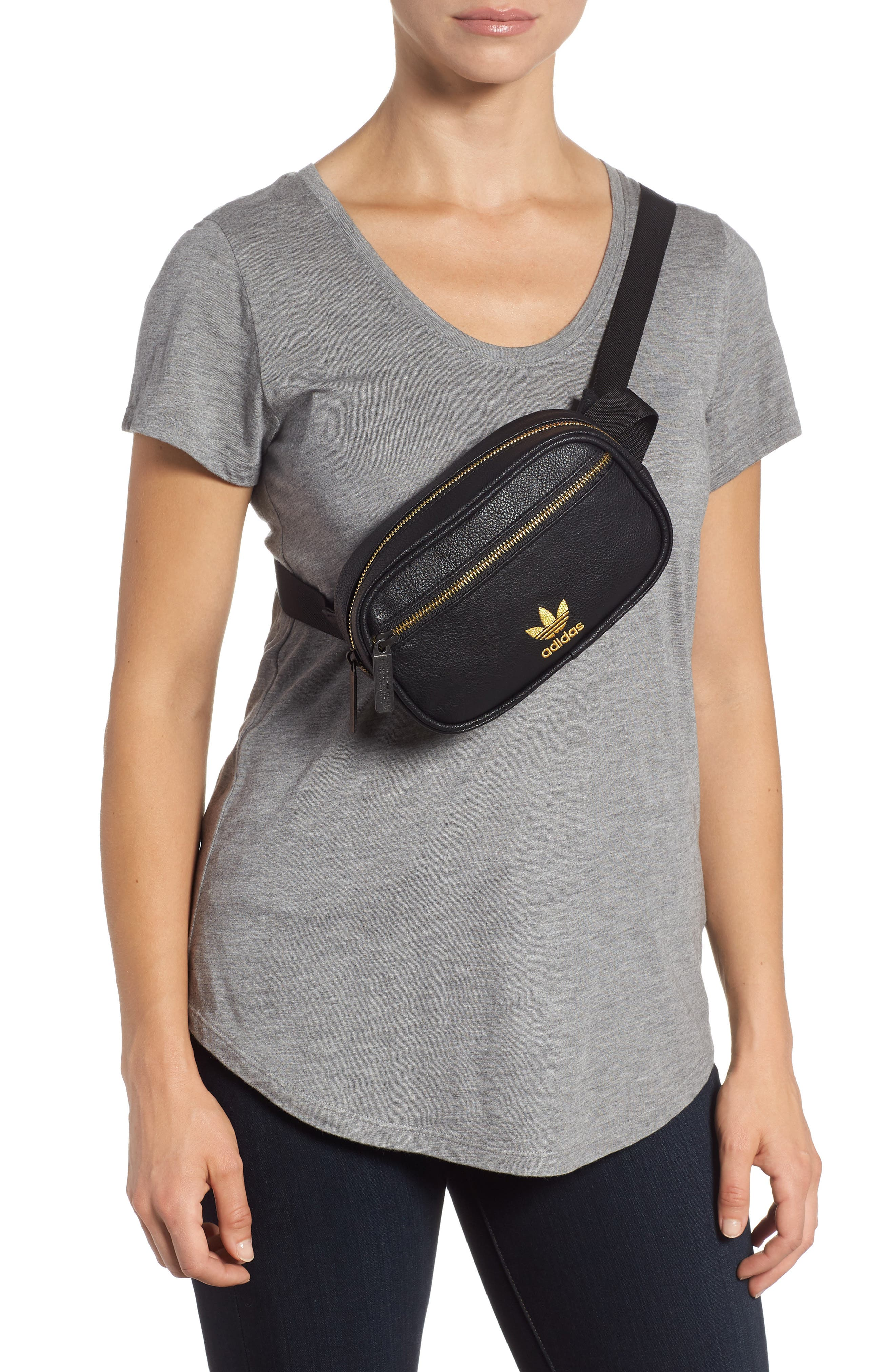 adidas Ori Faux Leather Fanny Pack,                             Alternate thumbnail 3, color,                             001