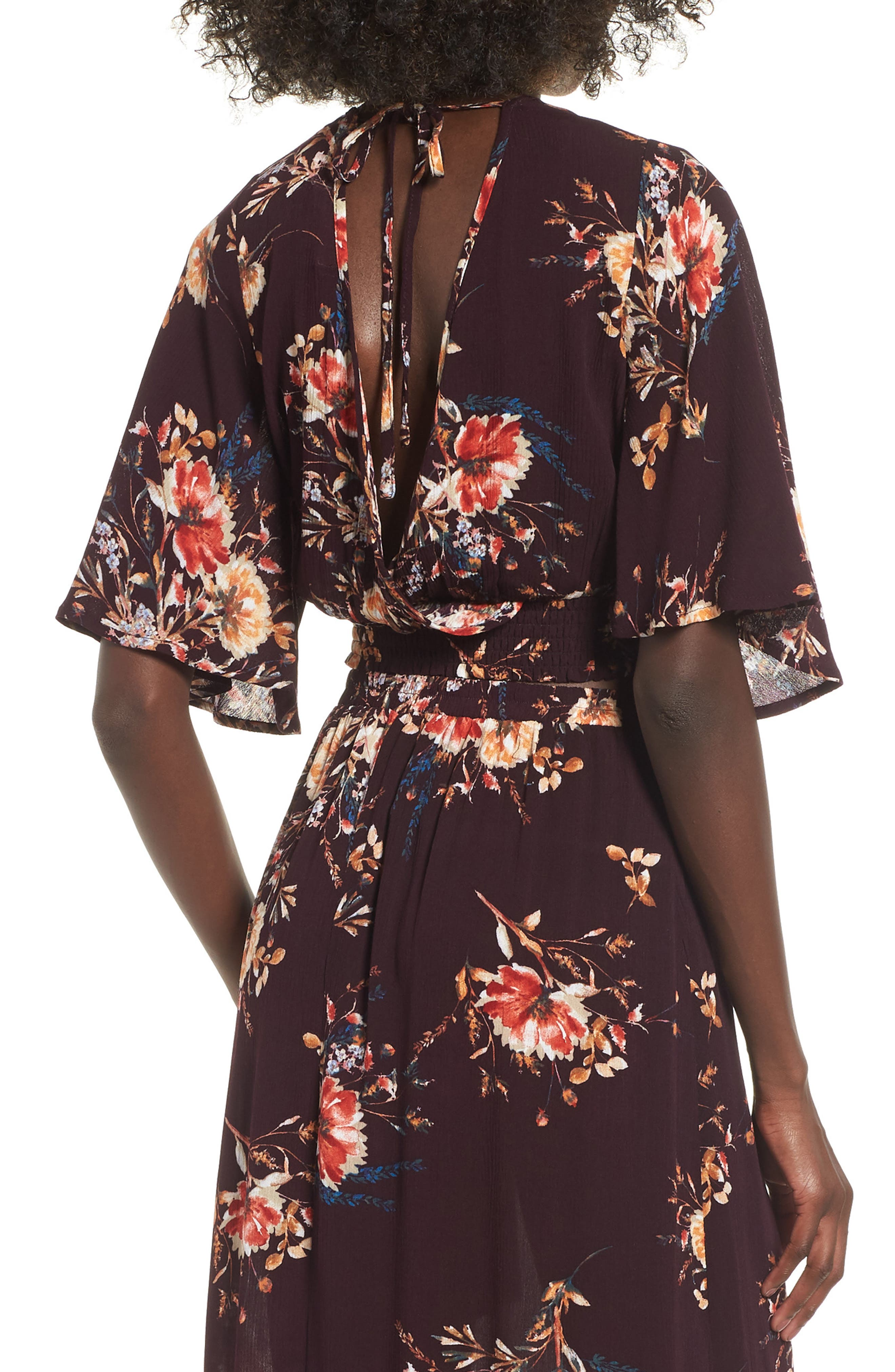 Shadow Floral Tie Back Crop Top,                             Alternate thumbnail 2, color,                             BURGUNDY/ PEACH