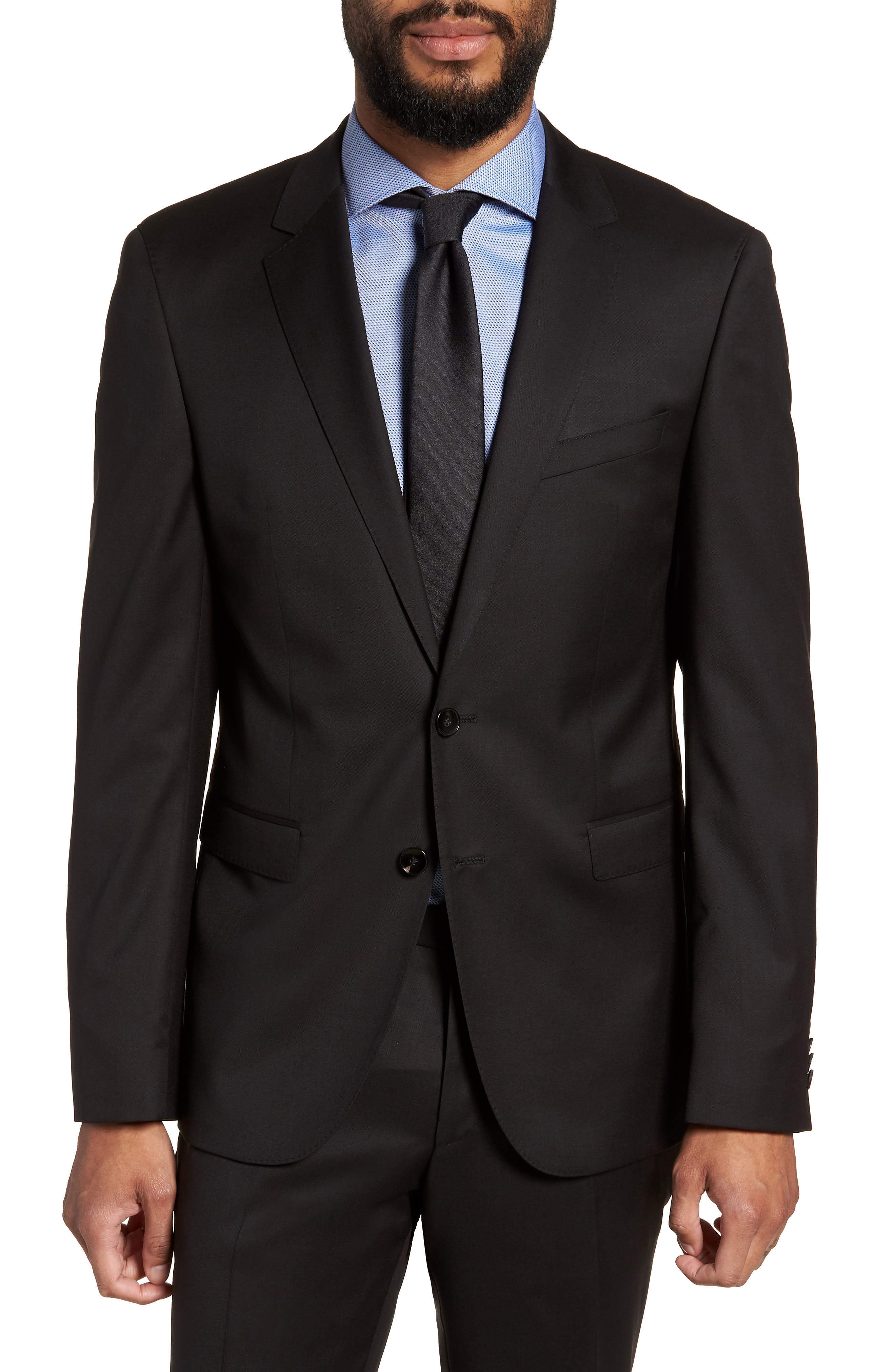Ryan CYL Extra Trim Fit Solid Wool Blazer,                             Main thumbnail 1, color,                             BLACK