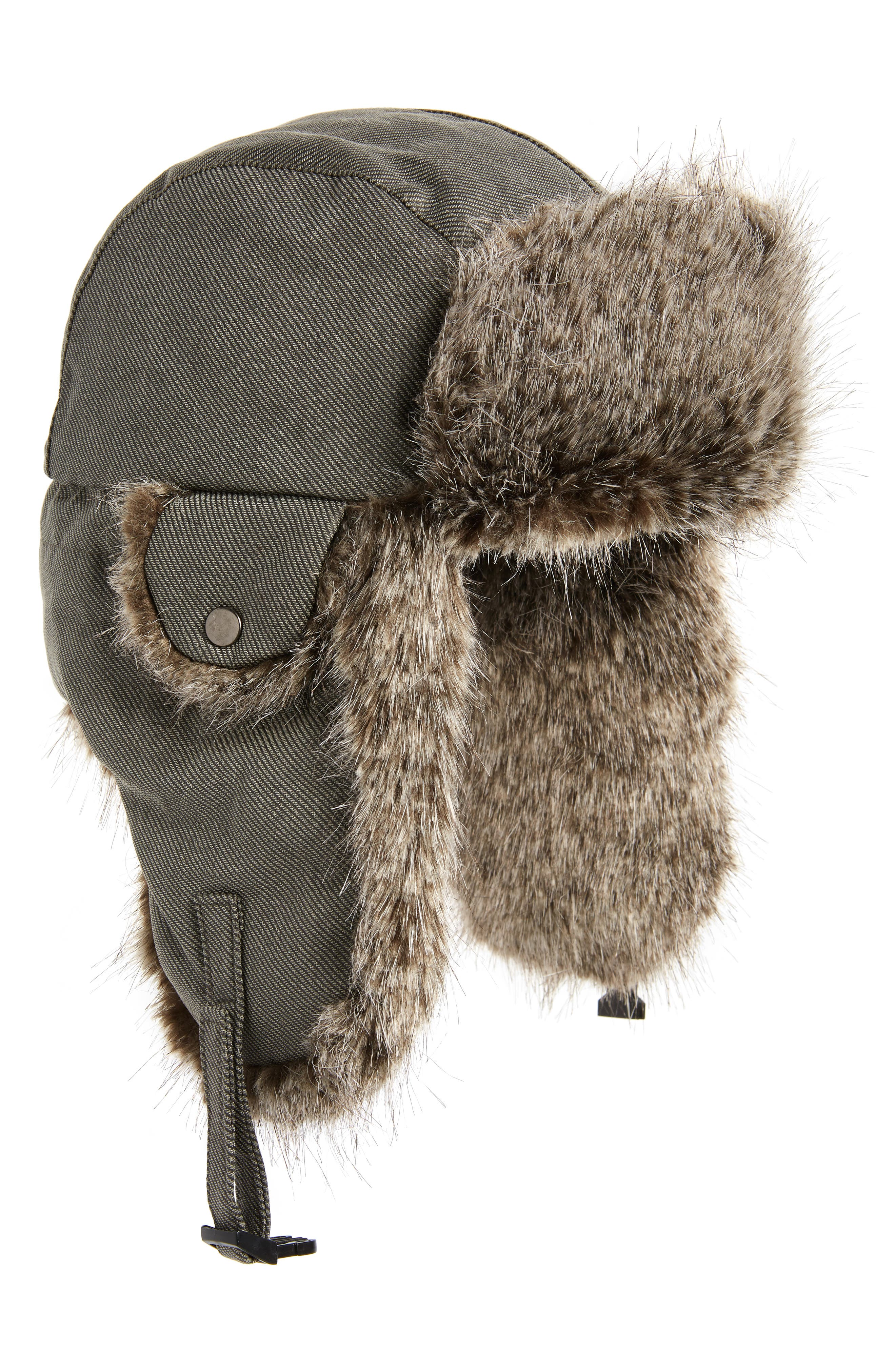 Waxed Cotton Aviator Hat with Faux Fur Lining,                             Main thumbnail 1, color,                             020
