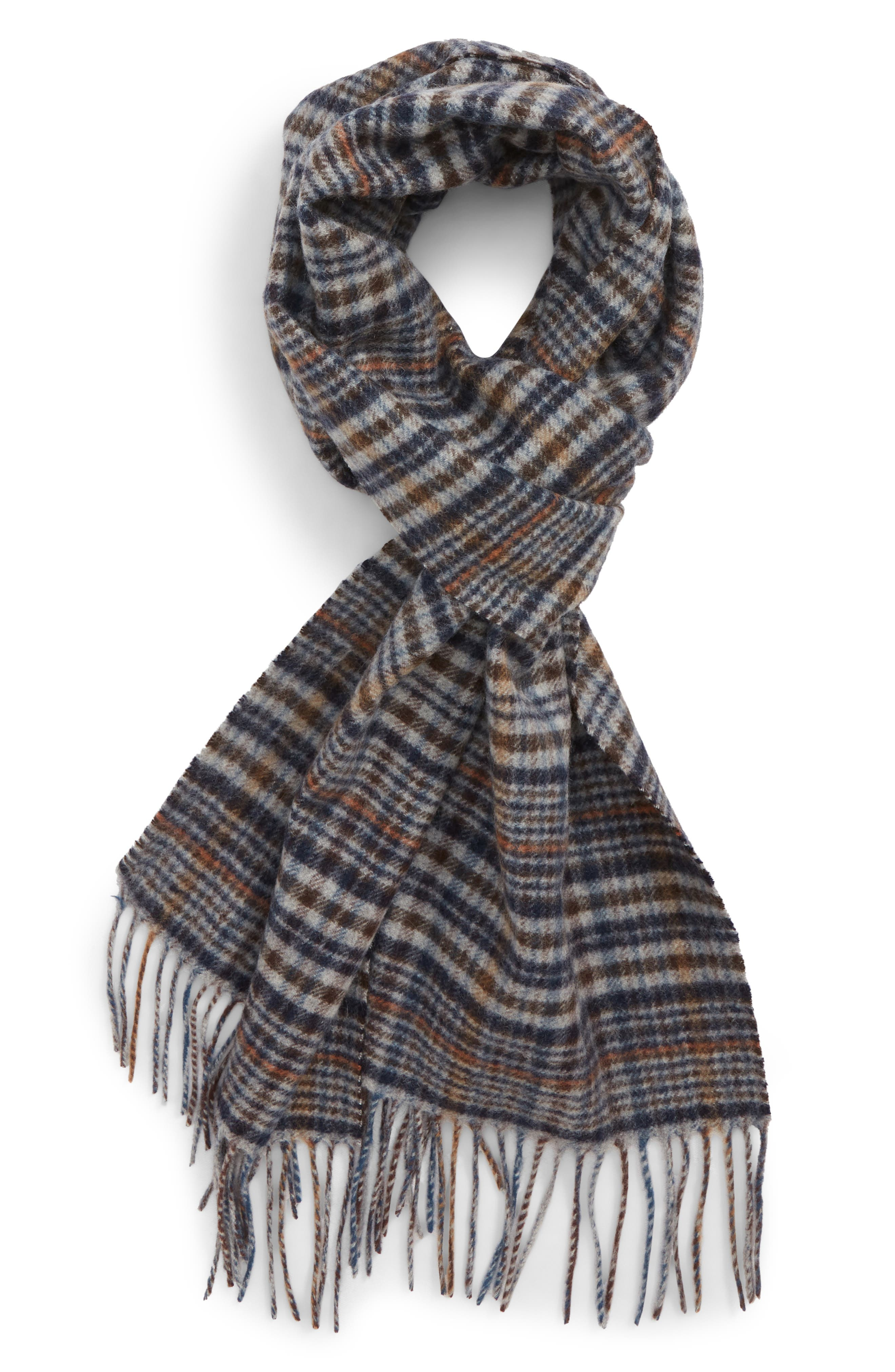 NORDSTROM MEN'S SHOP Tattersall Cashmere Scarf, Main, color, 001