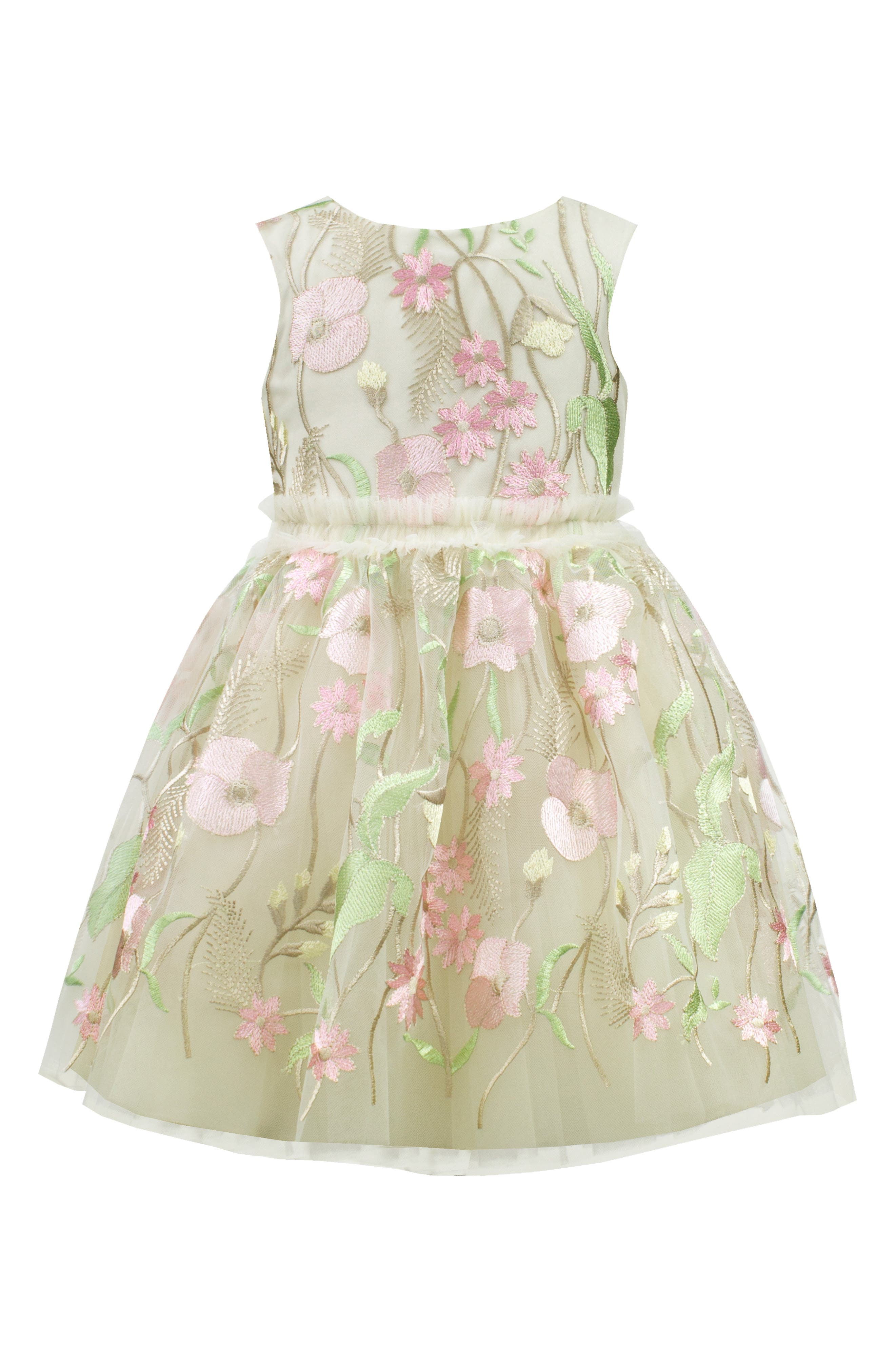 DAVID CHARLES Pastel Embroidered Tulle Dress, Main, color, IVORY/ PINK