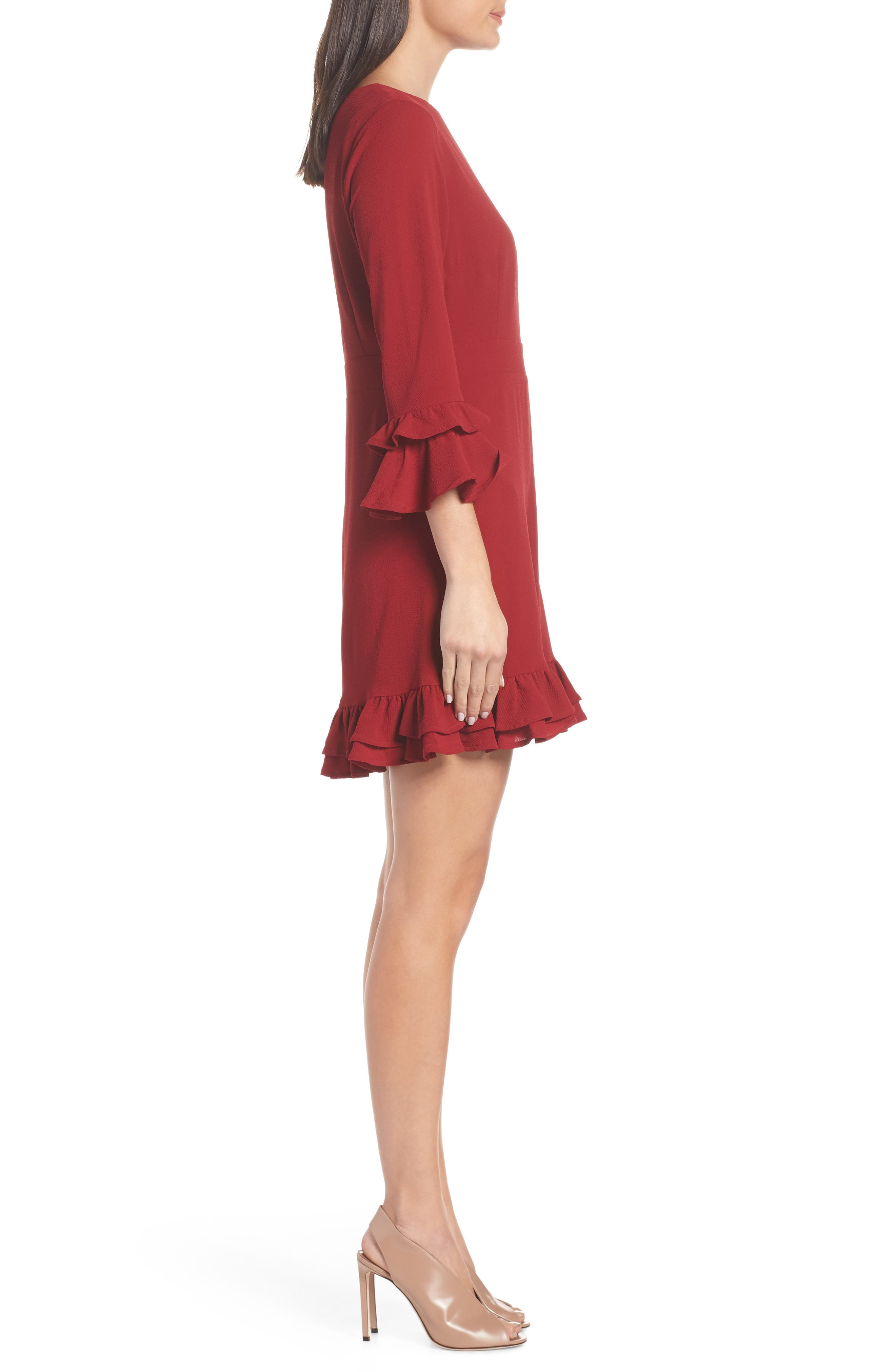 Tiered Ruffle Trim Crepe Dress,                             Alternate thumbnail 3, color,                             ROUGE