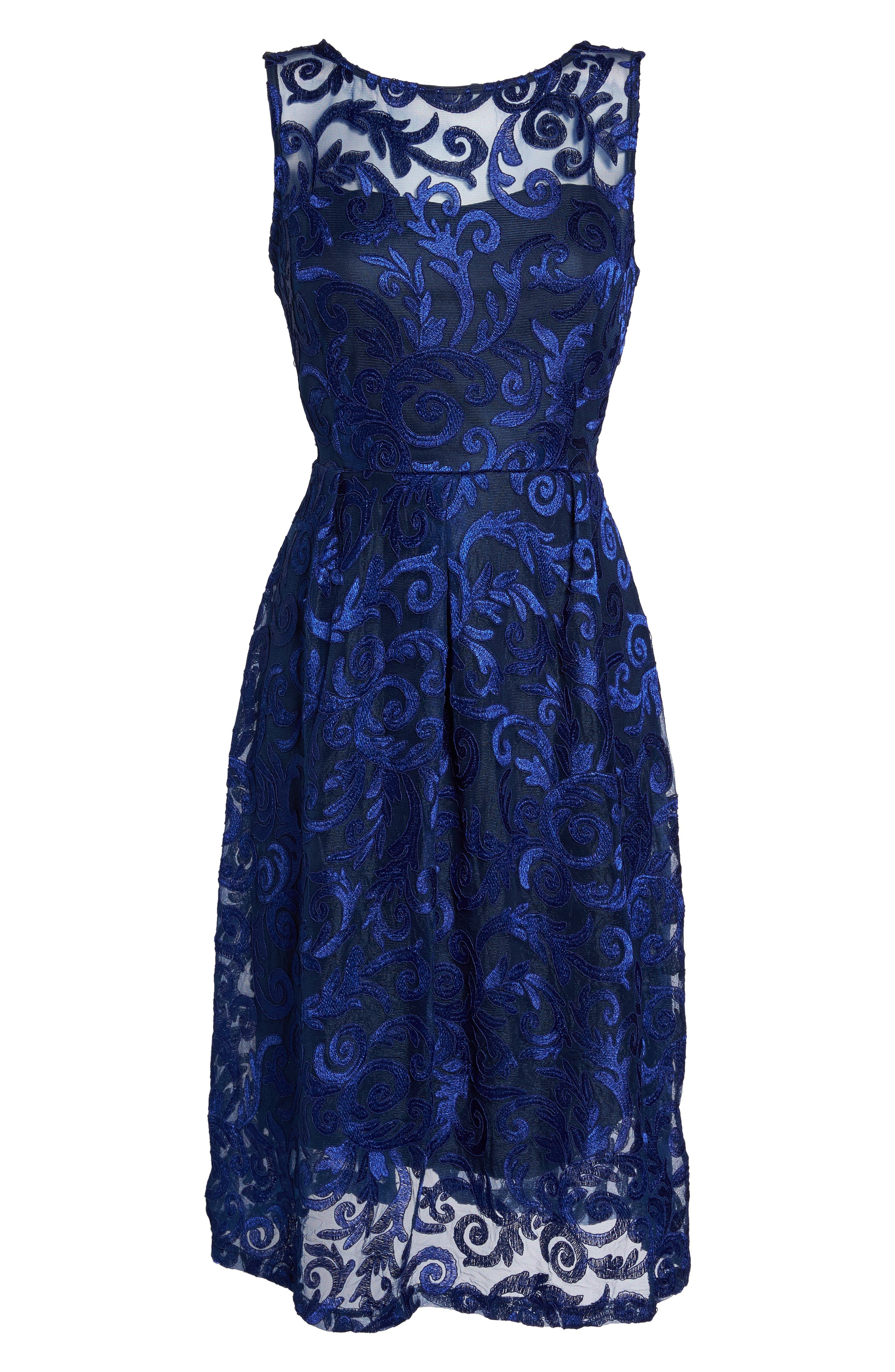 Floral Scroll Embroidered Cocktail Dress,                             Alternate thumbnail 6, color,                             430