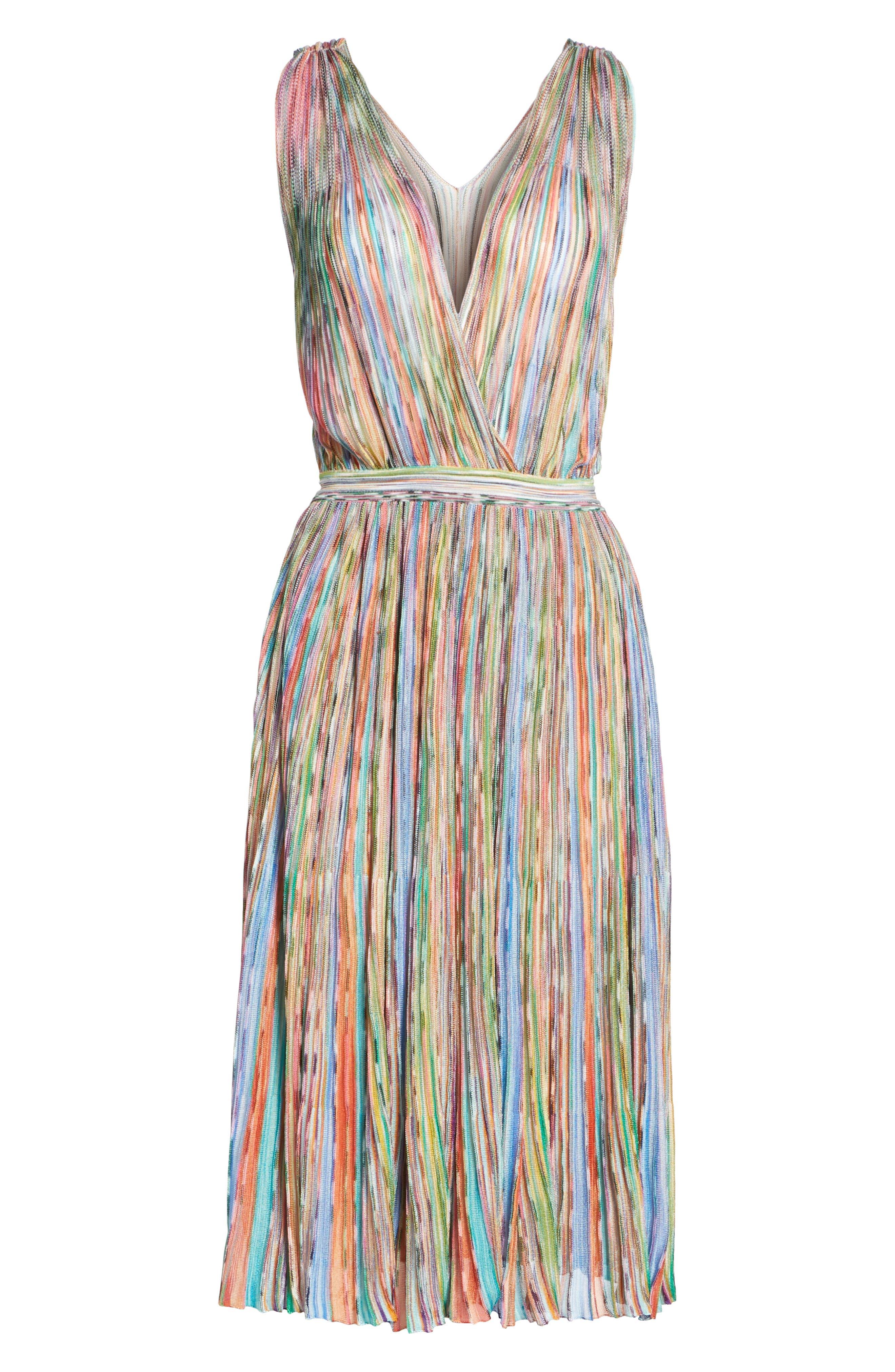 Surplice Neck Stripe Midi Dress,                             Alternate thumbnail 6, color,                             650