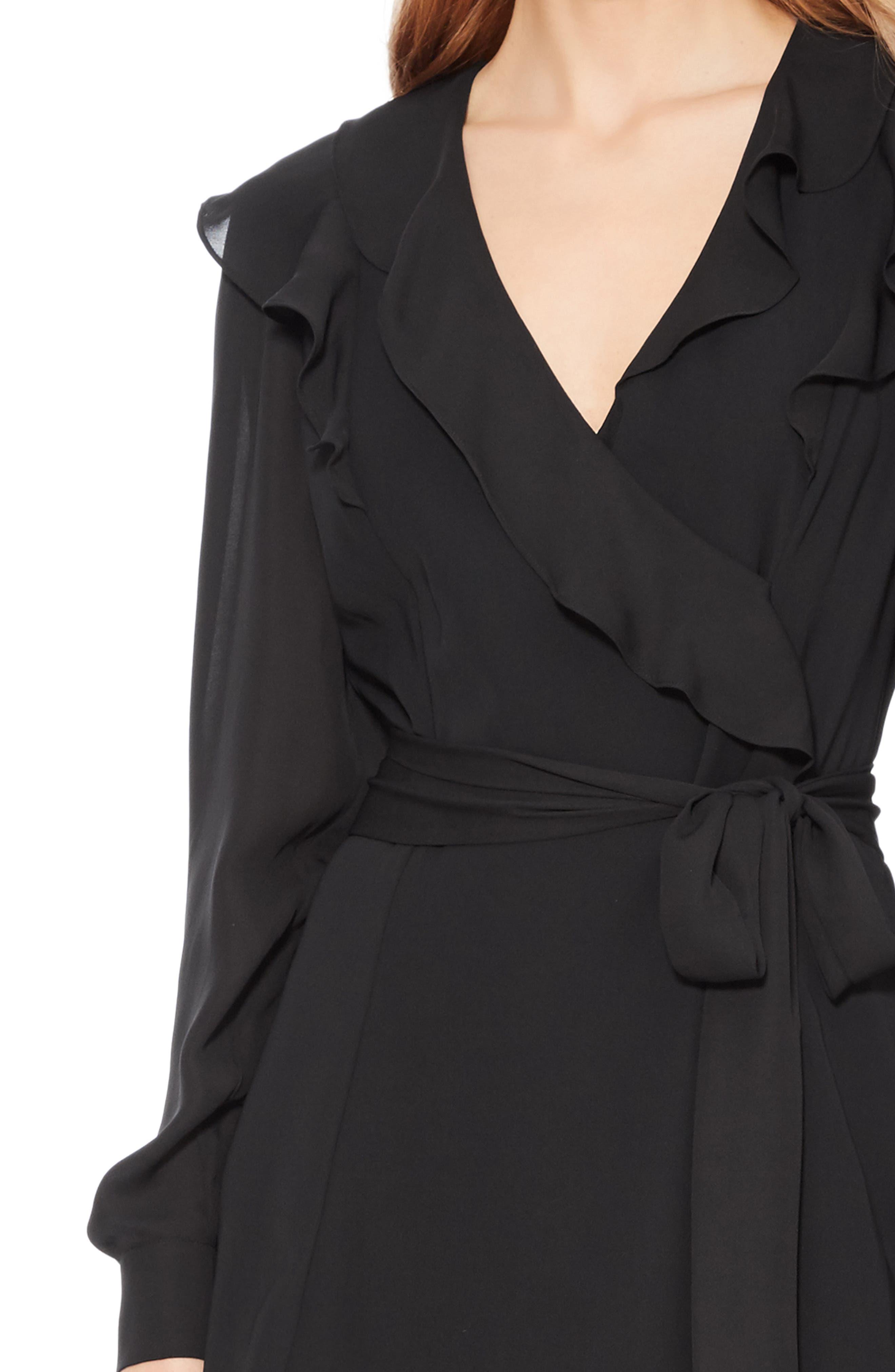Pauline Tie Waist Dress,                             Alternate thumbnail 4, color,                             BLACK