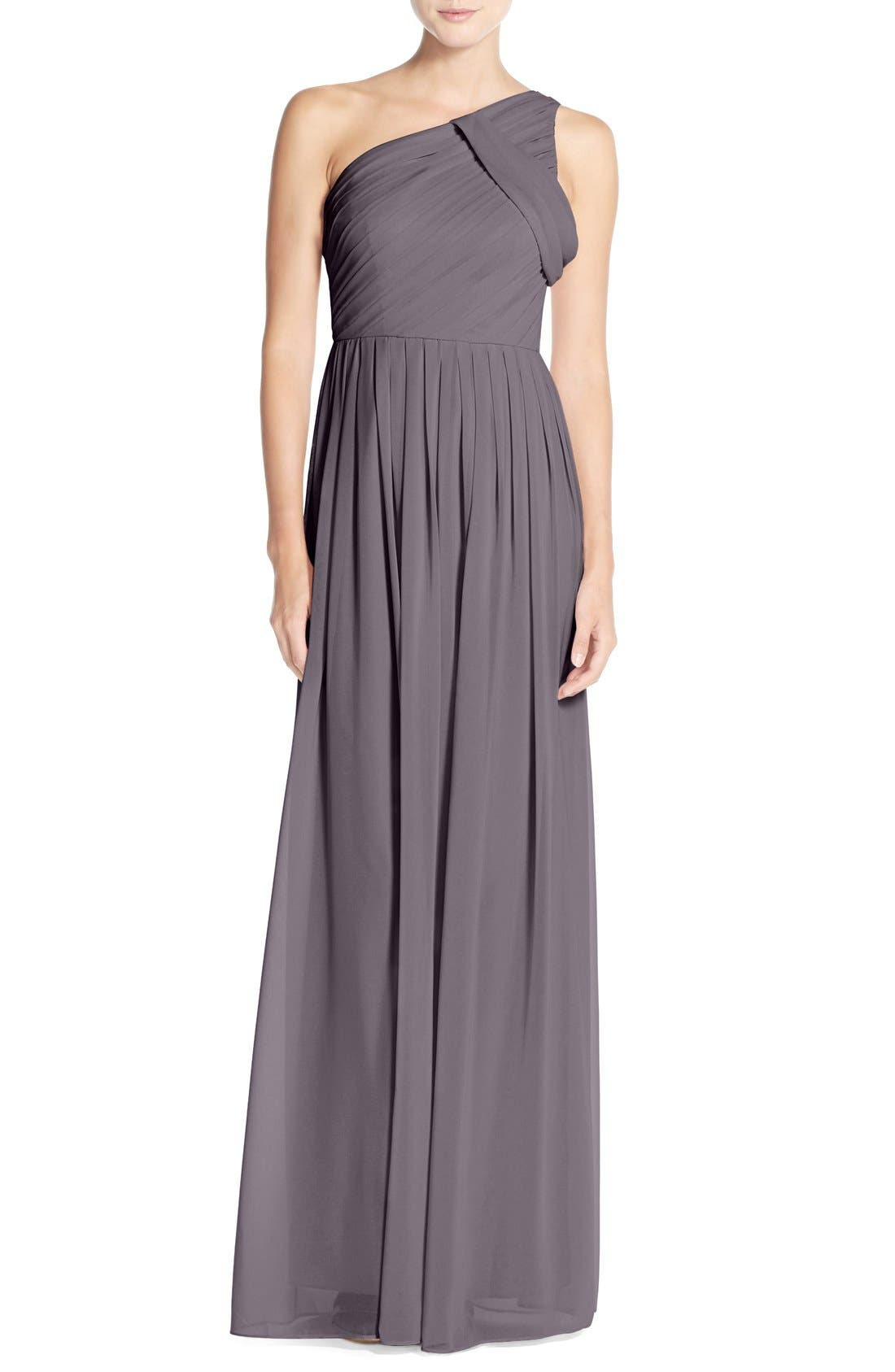 'Chloe' One-Shoulder Pleat Chiffon Gown,                             Main thumbnail 2, color,