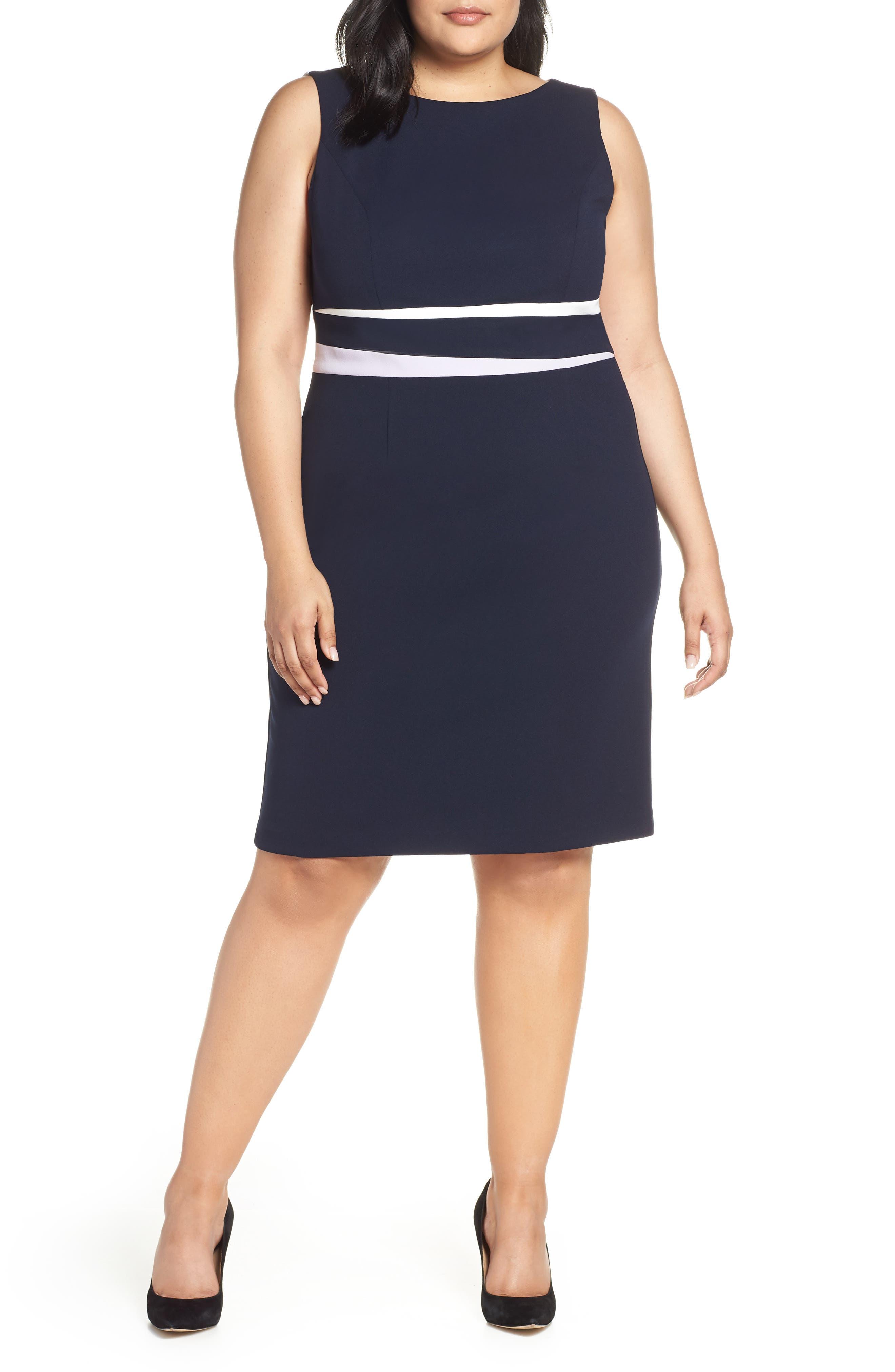 Plus Size Vince Camuto Colorblock Crepe Sheath Dress, Blue