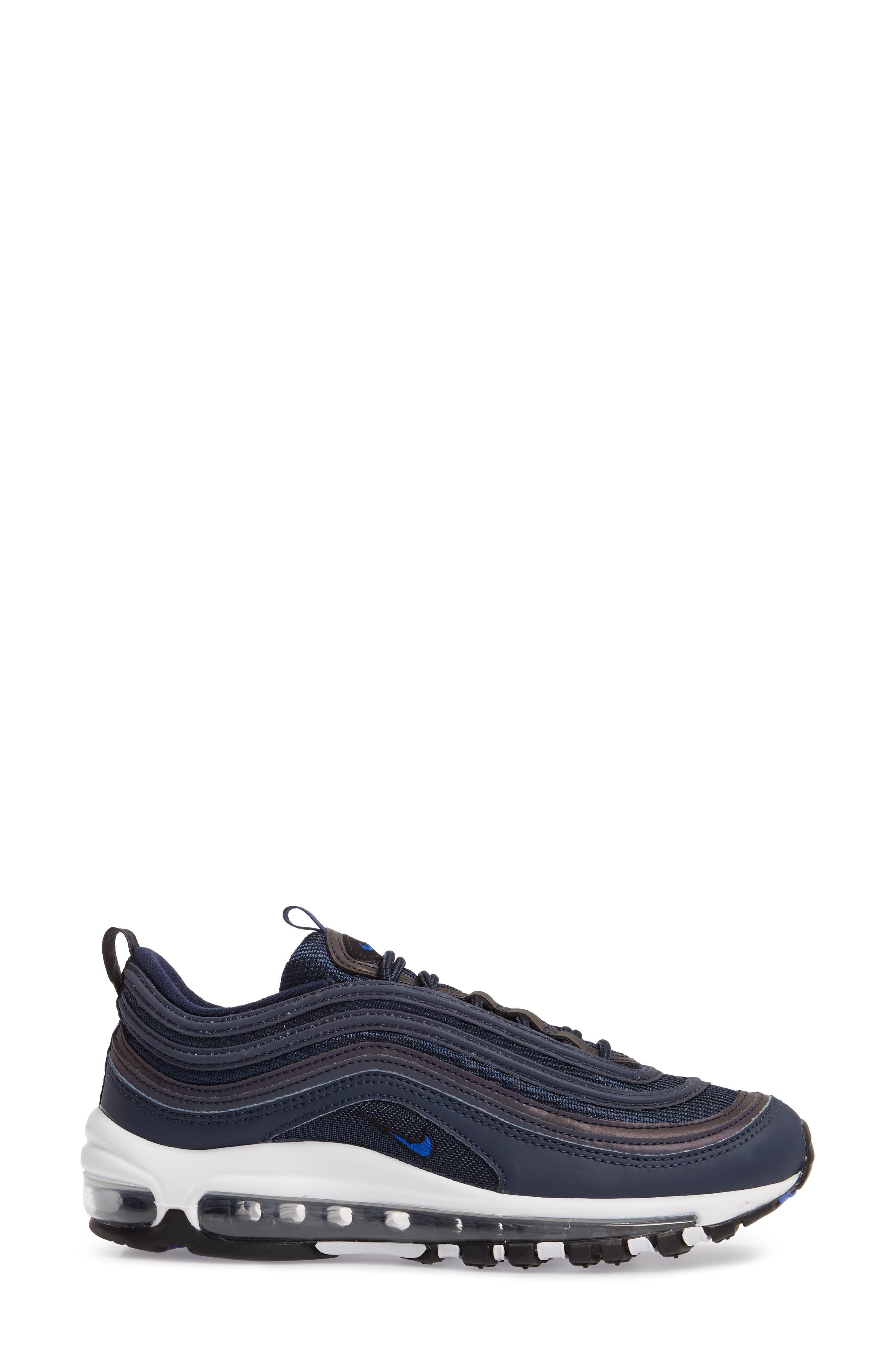 Air Max 97 Sneaker,                             Alternate thumbnail 3, color,                             OBSIDIAN/ WHITE/ BLACK