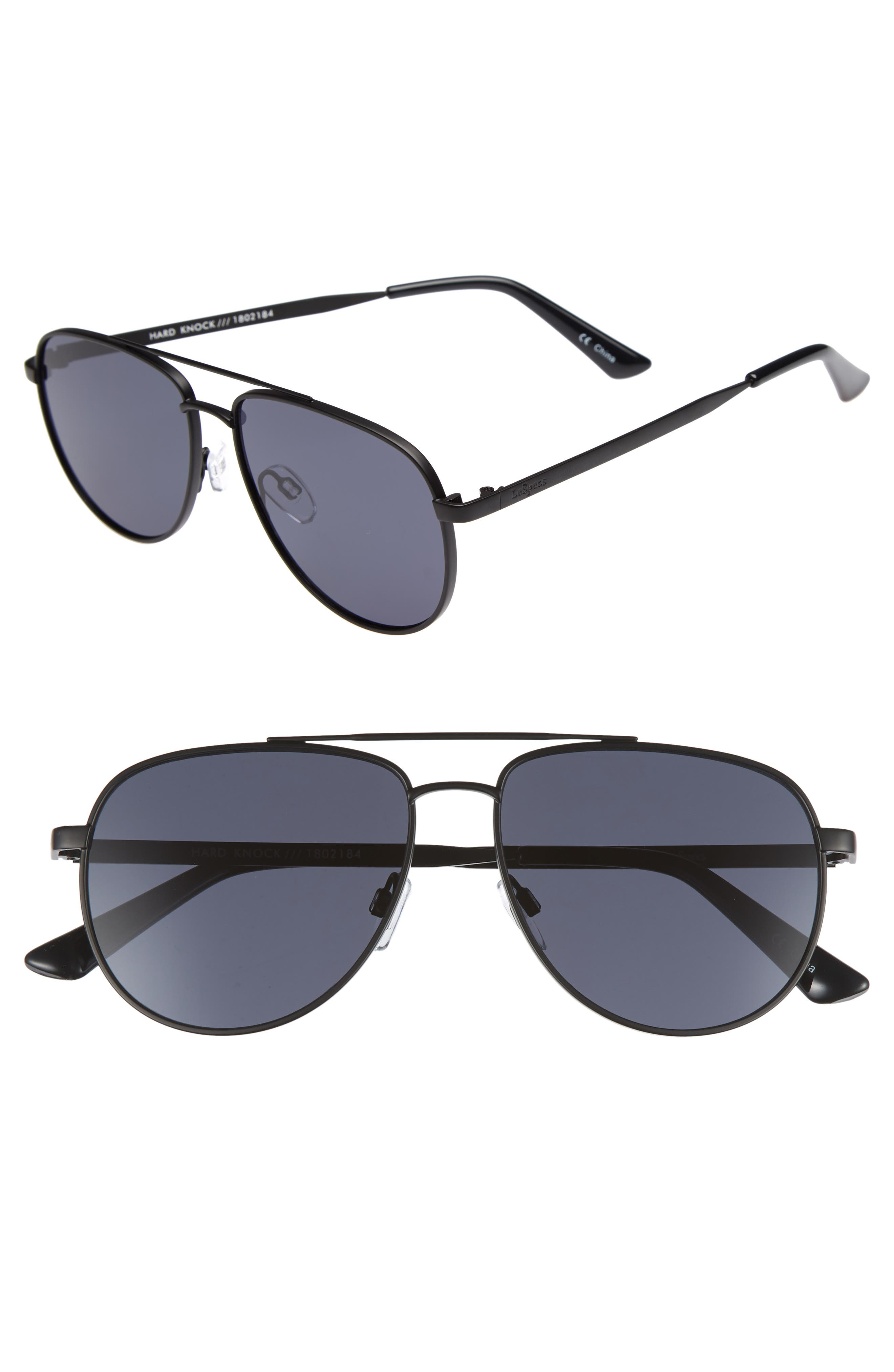 Hard Knock 57mm Aviator Sunglasses,                         Main,                         color, MATTE BLACK