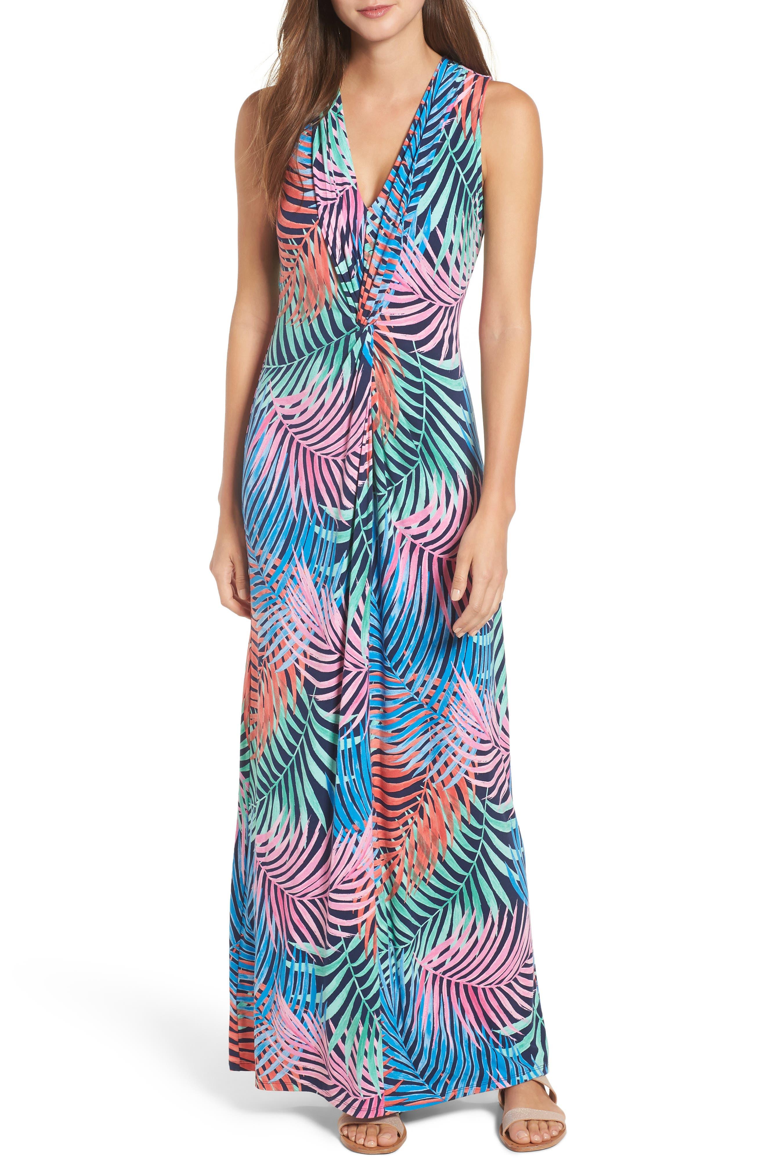 Tulum Trance Twist Maxi Dress,                         Main,                         color, OCEAN DEEP