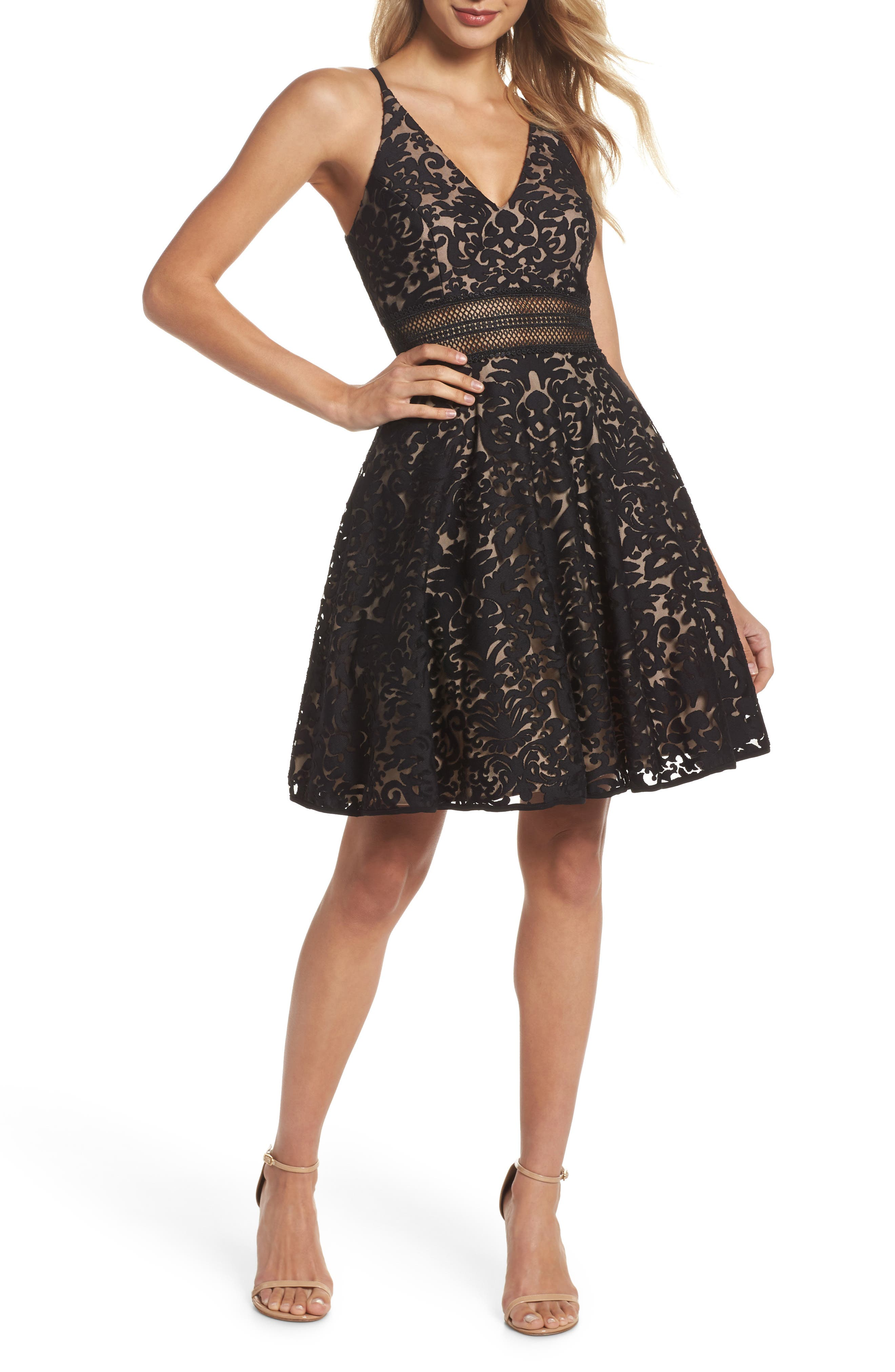 XSCAPE Lace Fit & Flare Dress, Main, color, 002