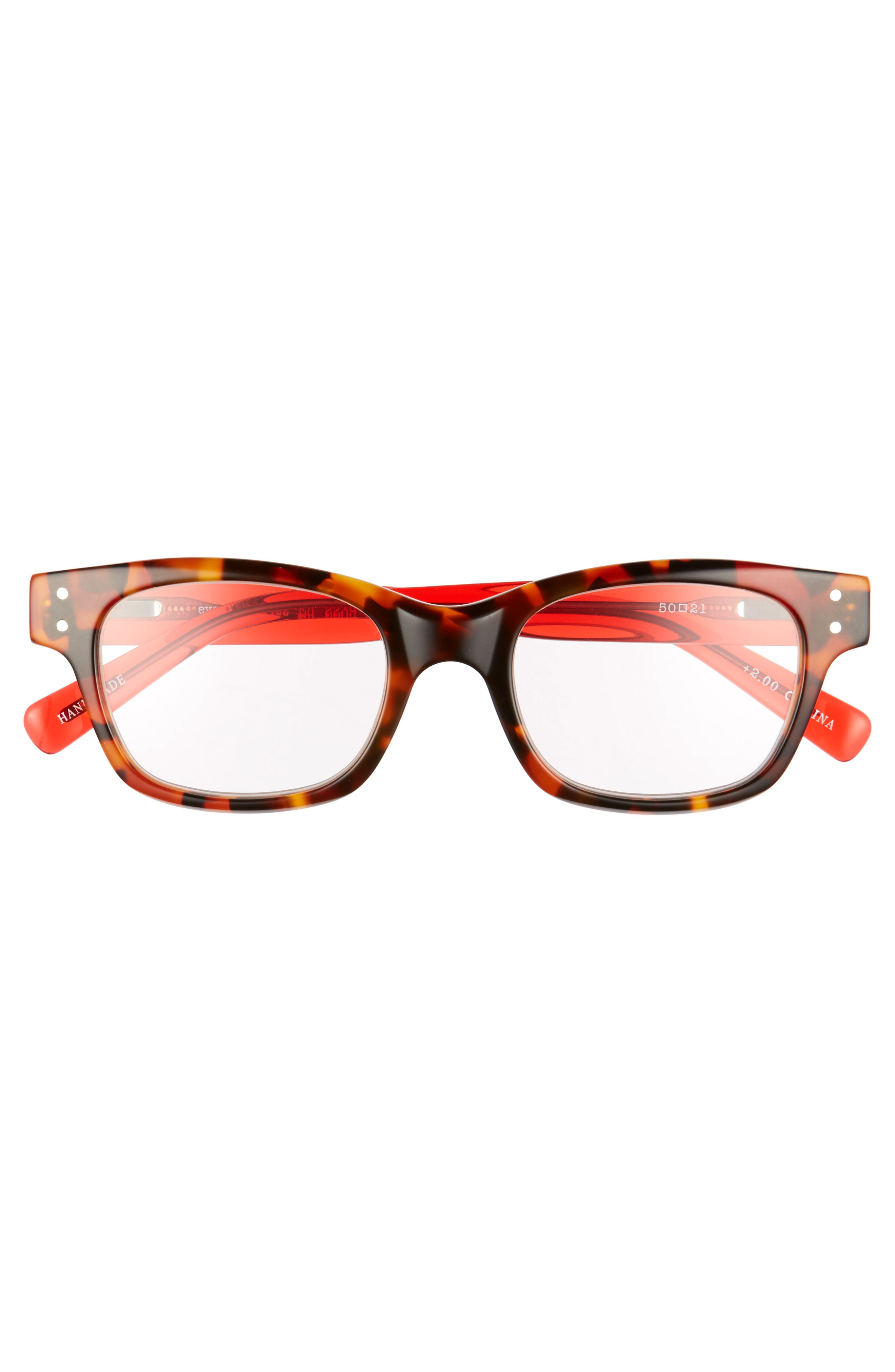 EYEBOBS,                             Fizz Ed 50mm Reading Glasses,                             Alternate thumbnail 2, color,                             TORTOISE WITH RED