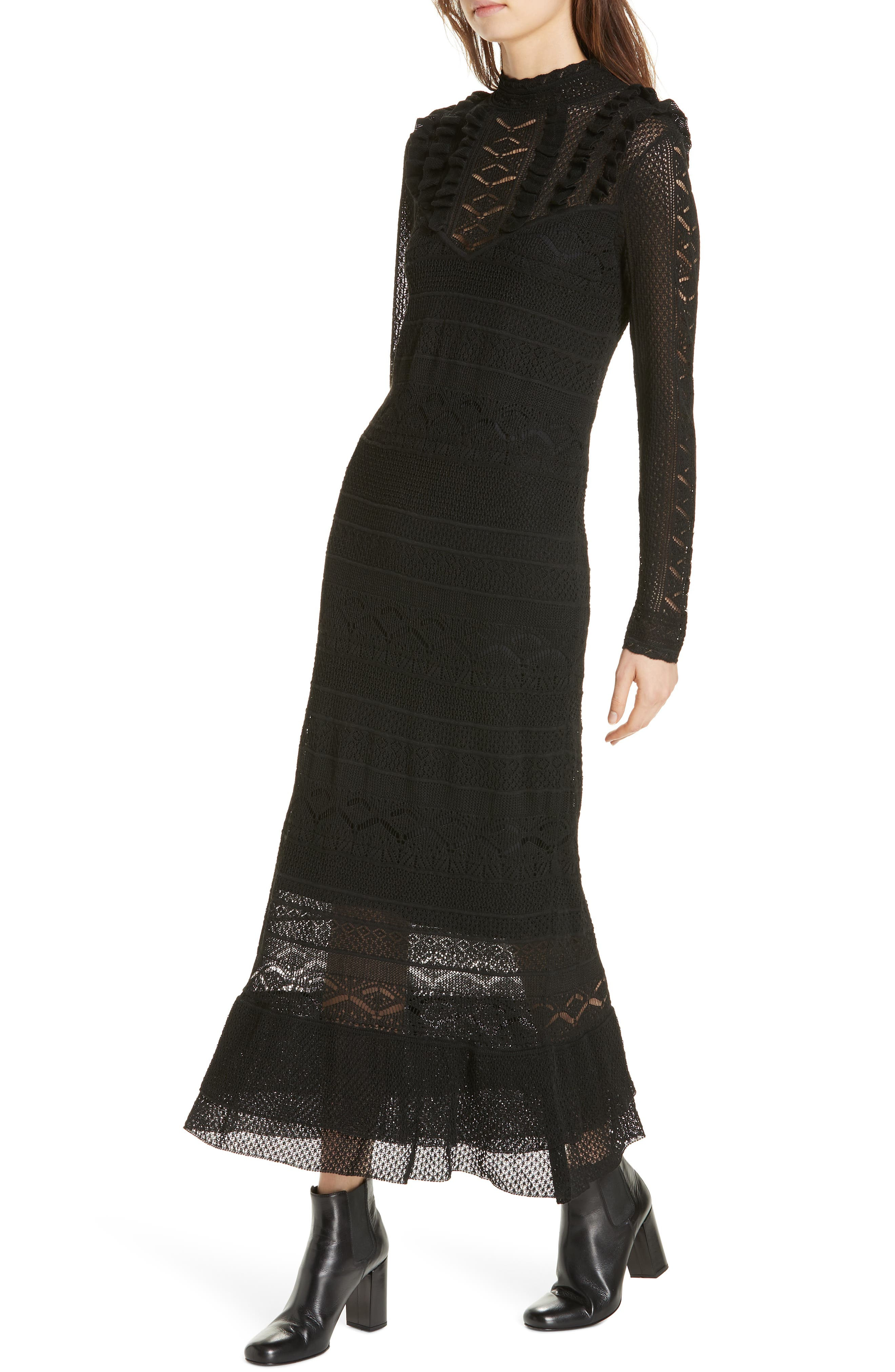 Pointelle Lace Midi Dress,                             Alternate thumbnail 4, color,                             001
