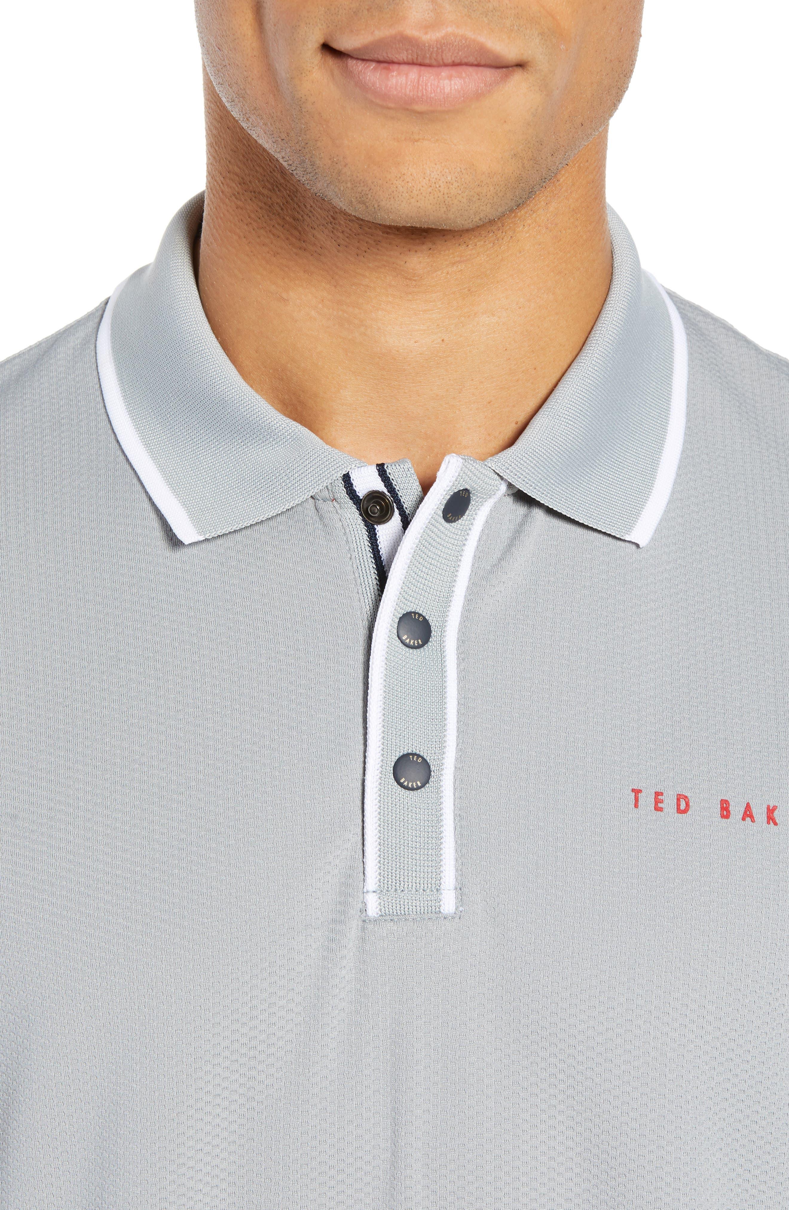 TED BAKER LONDON,                             Bunka Trim Fit Golf Polo,                             Alternate thumbnail 4, color,                             LT-GREY