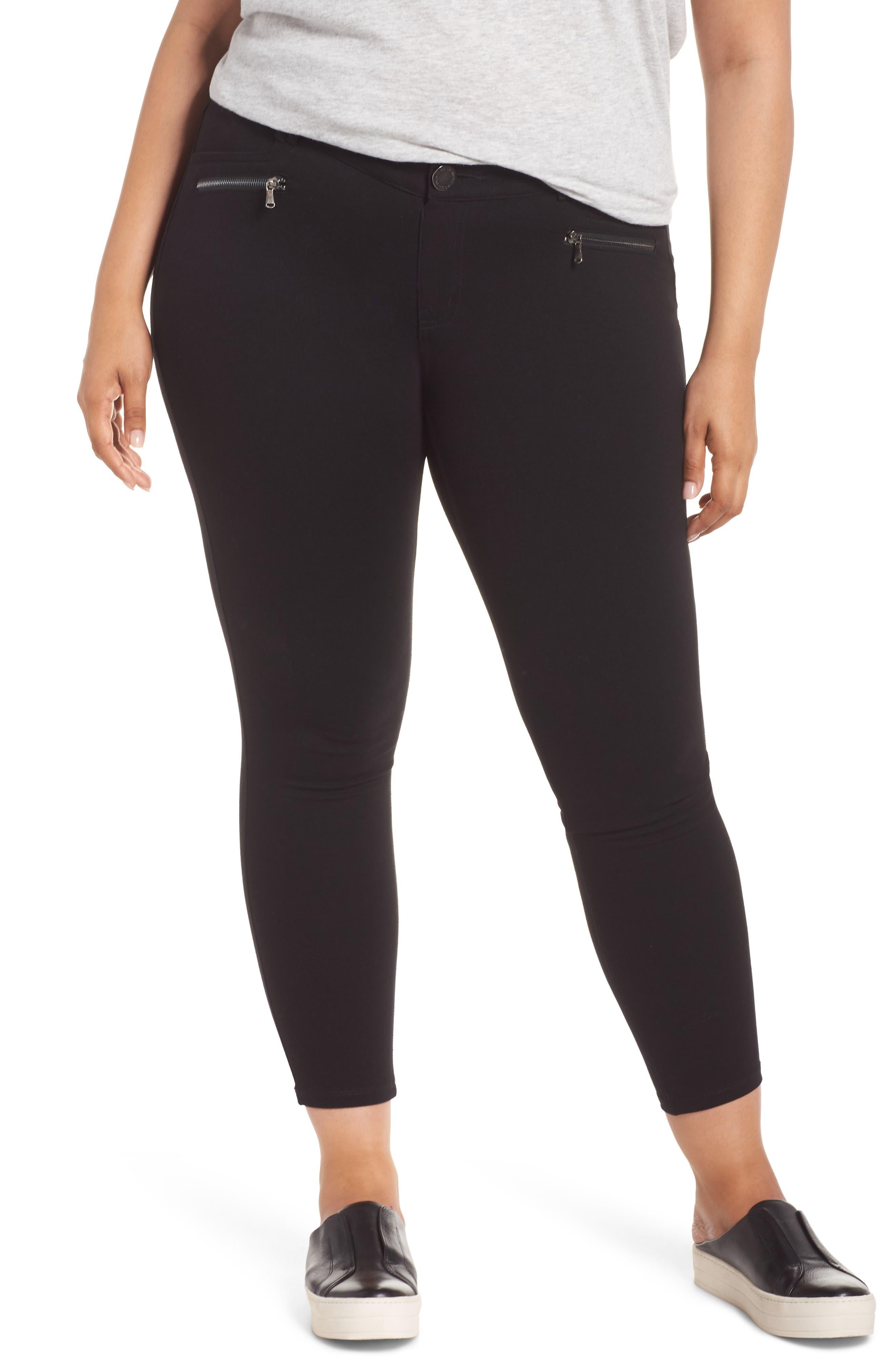 Ab-solution Zip Pocket Skinny Pants,                             Main thumbnail 1, color,                             BLACK