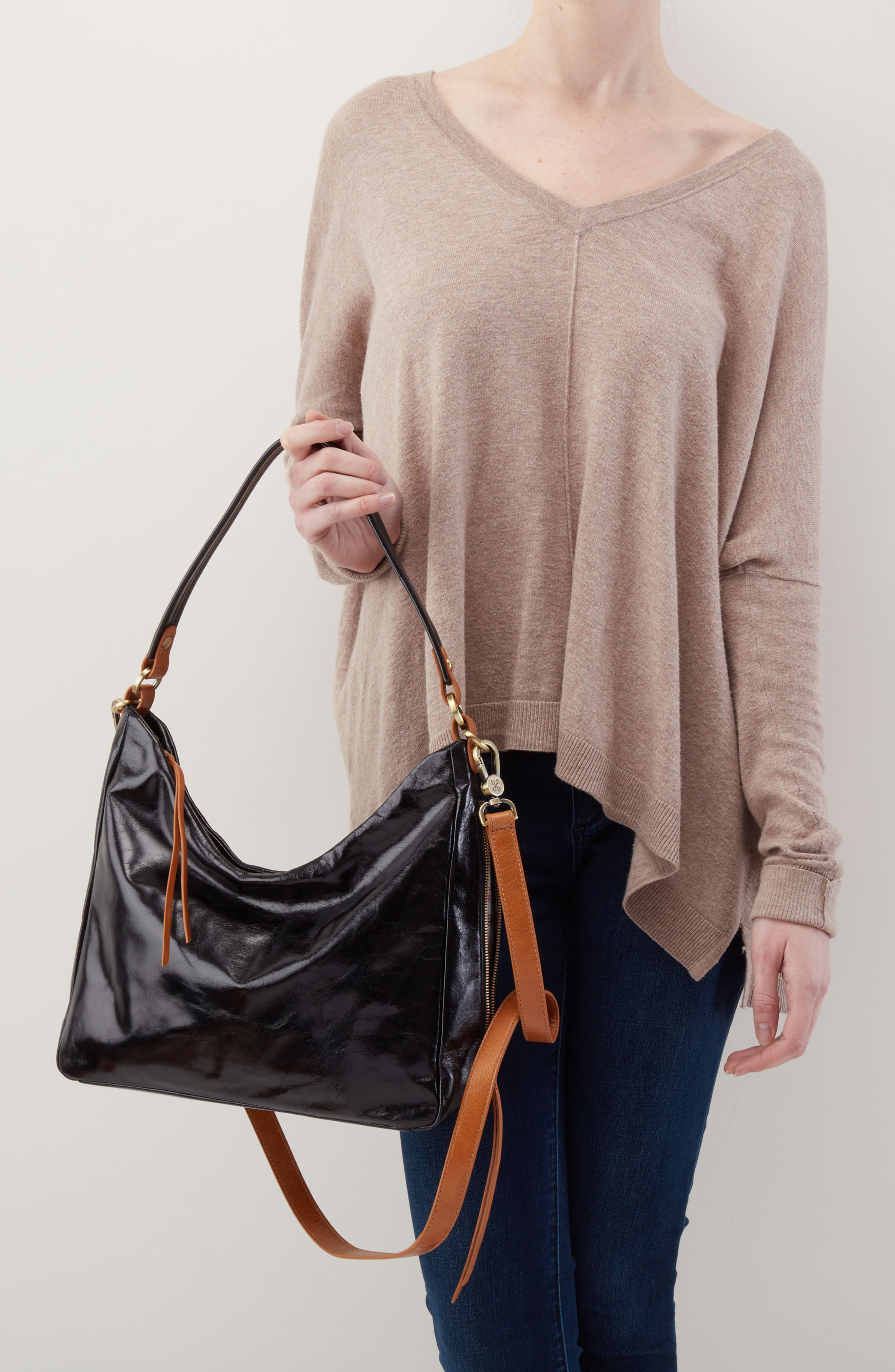 Delilah Convertible Hobo Bag,                             Alternate thumbnail 2, color,                             BLACK