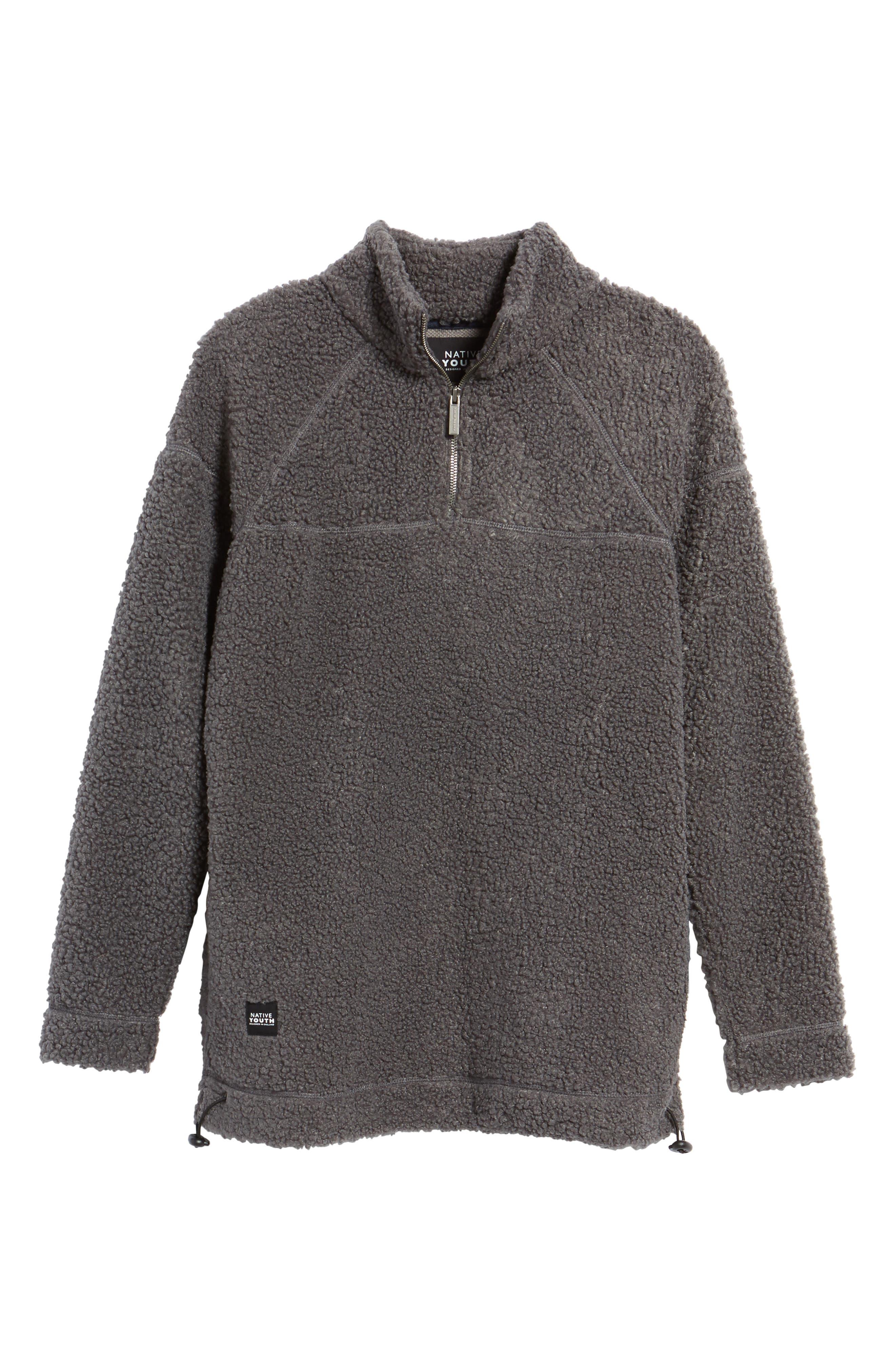 Warlock Faux Shearling Quarter Zip Sweater,                             Alternate thumbnail 6, color,