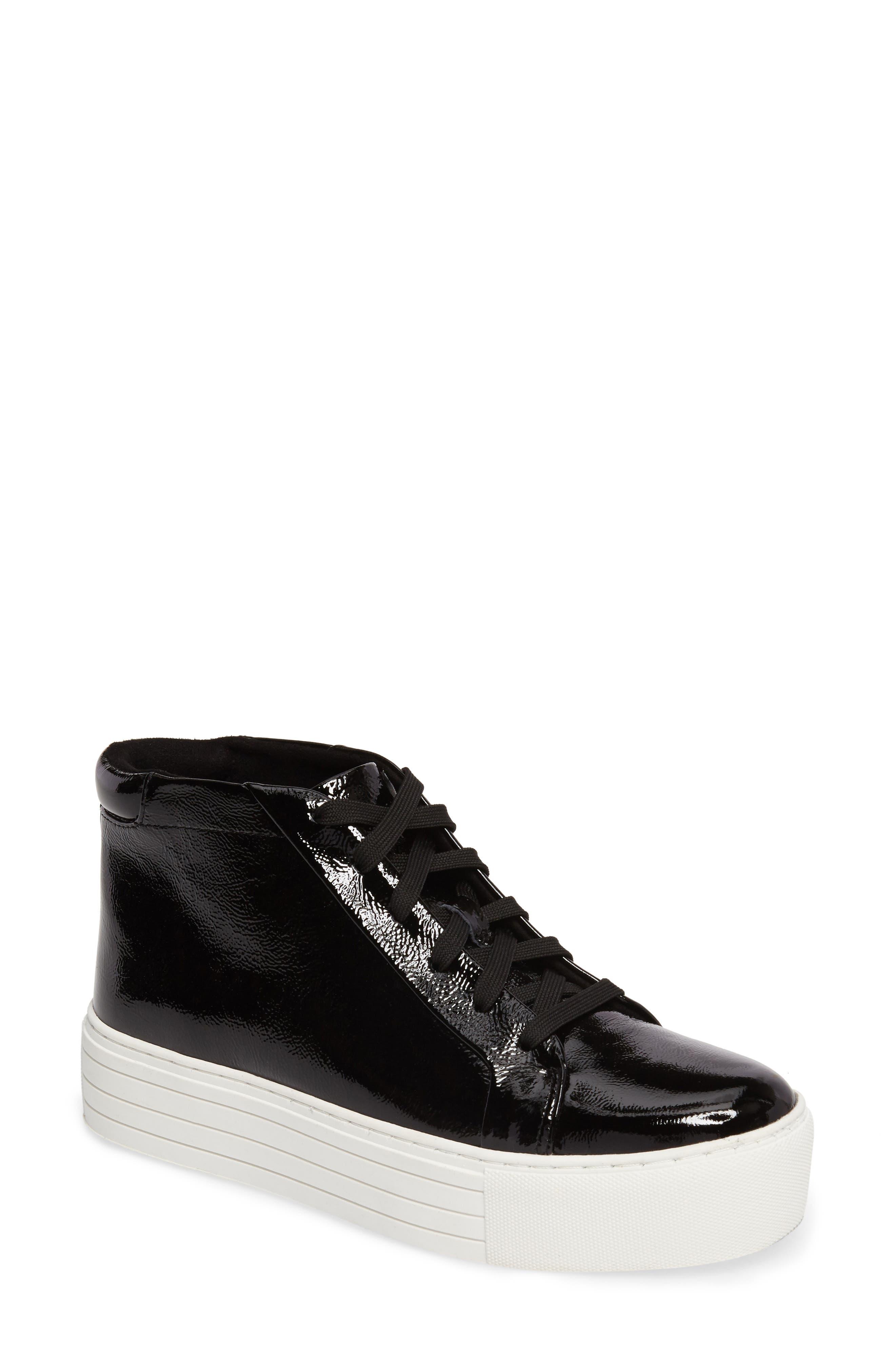 Janette High Top Platform Sneaker,                             Main thumbnail 1, color,                             BLACK PATENT LEATHER
