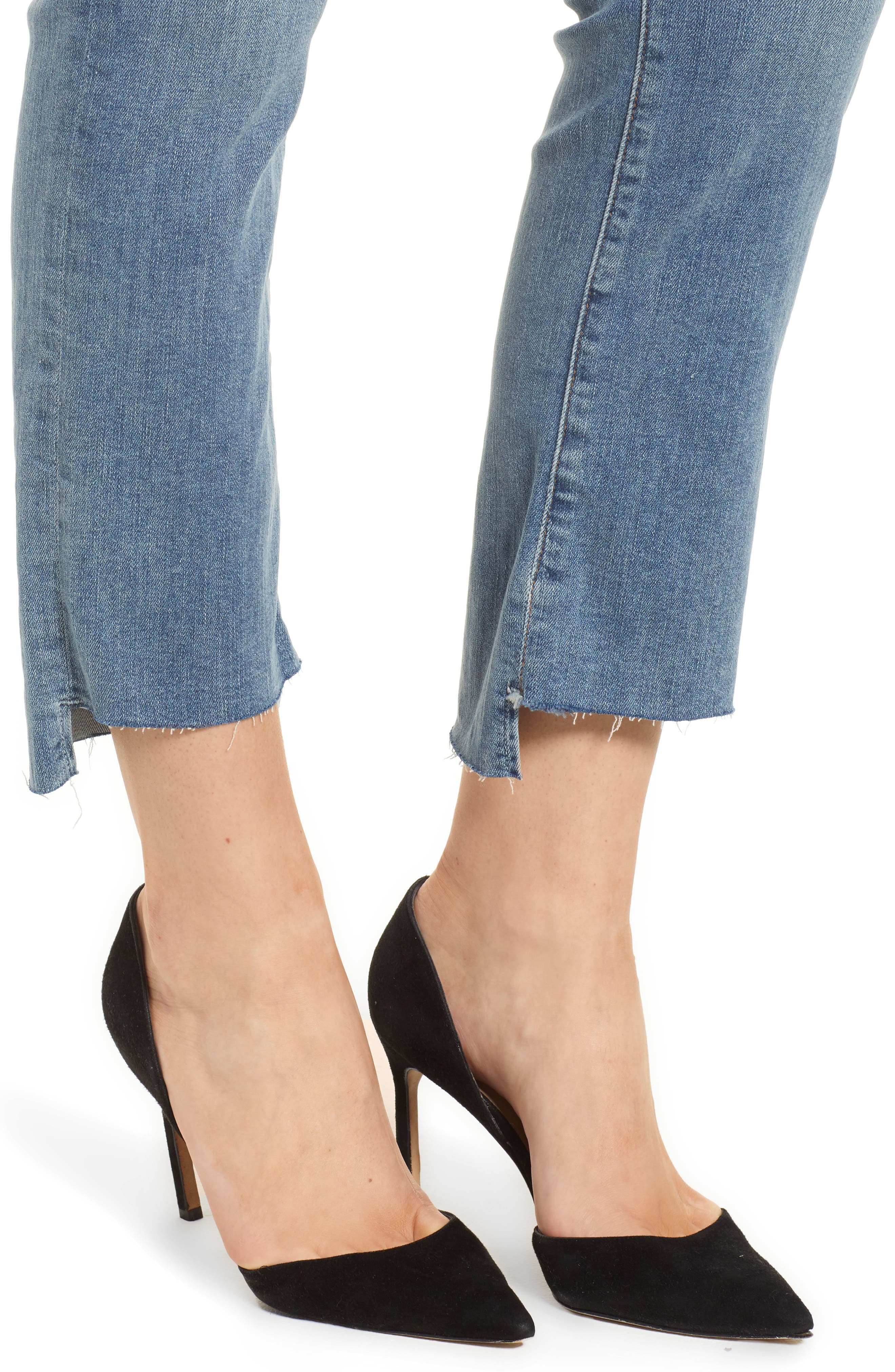 Good Straight Raw Hem Straight Leg Jeans,                             Alternate thumbnail 4, color,                             401