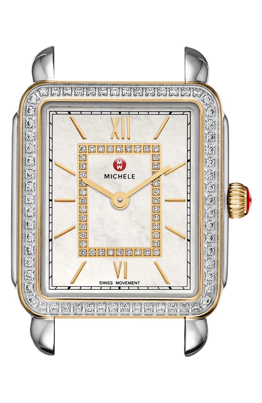 Deco II Mid Diamond Dial Watch Case, 26mm x 28mm,                             Alternate thumbnail 4, color,                             SILVER/ GOLD