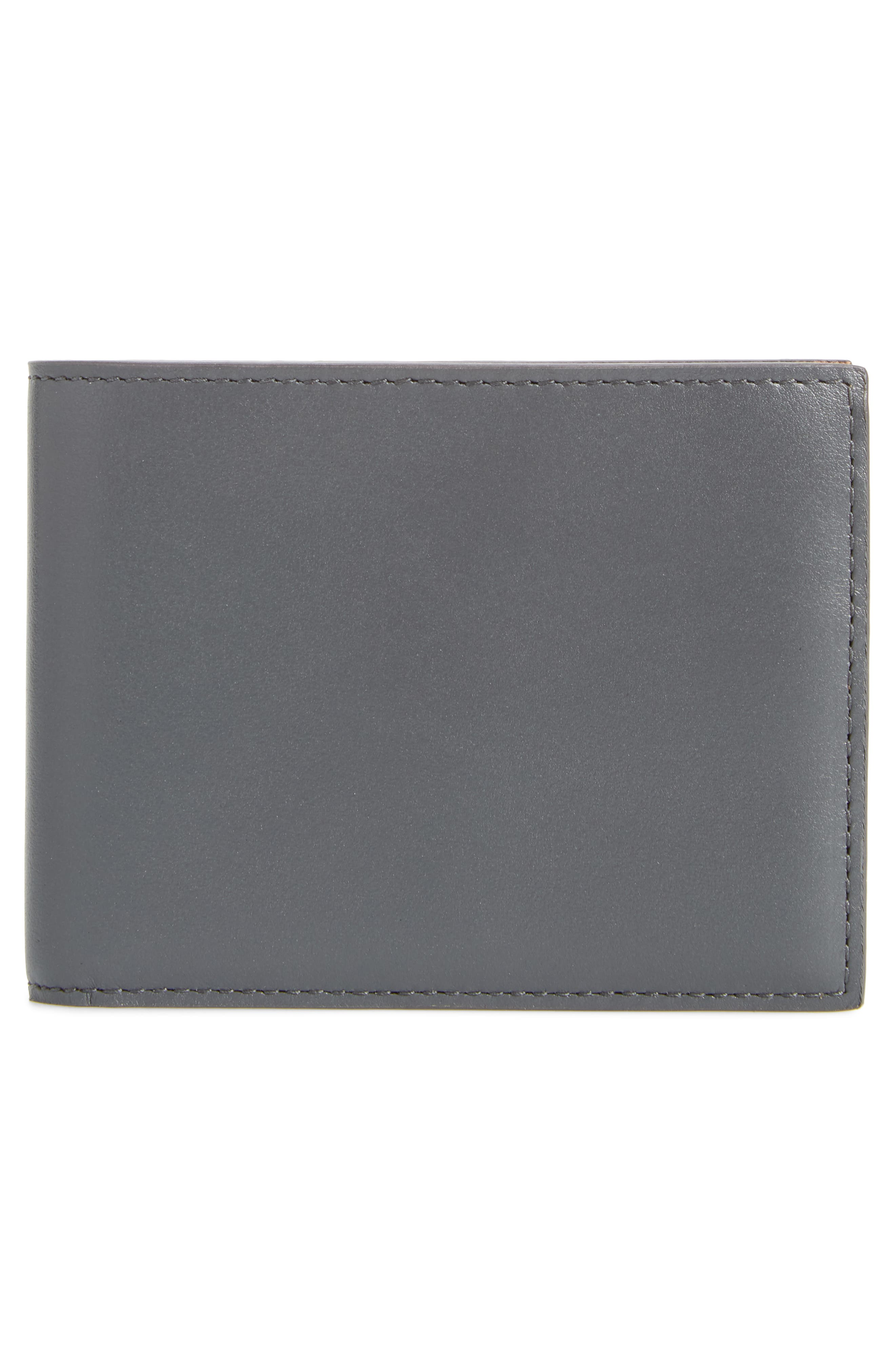 Leather Wallet,                             Alternate thumbnail 3, color,                             BLUE/ GREY