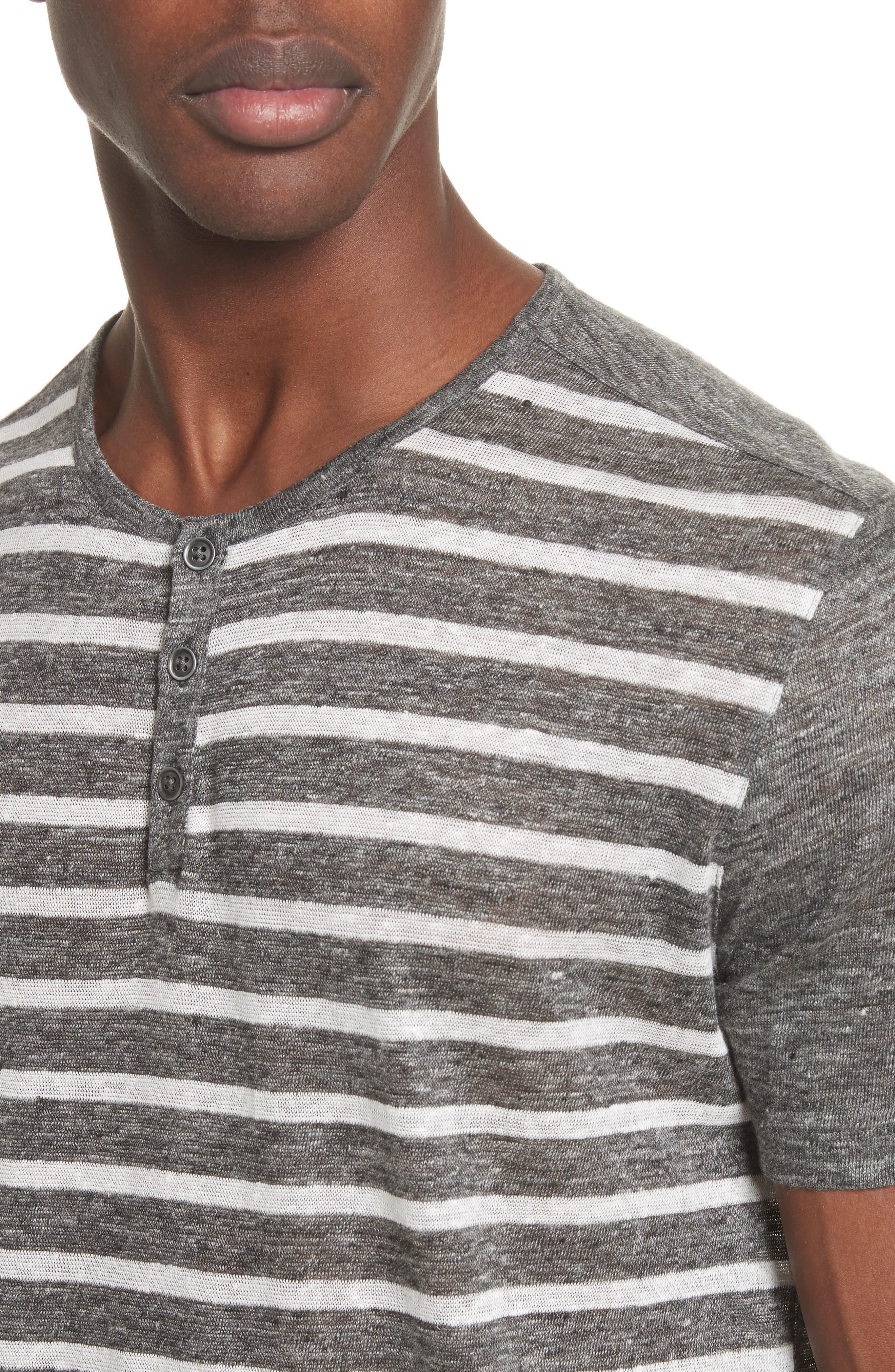Stripe Linen Henley T-Shirt,                             Alternate thumbnail 4, color,                             014